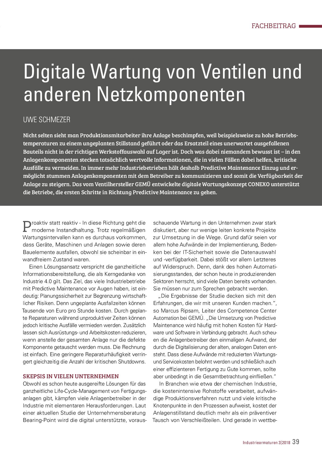 Digitale Wartung von Ventilen und anderen Netzkomponenten