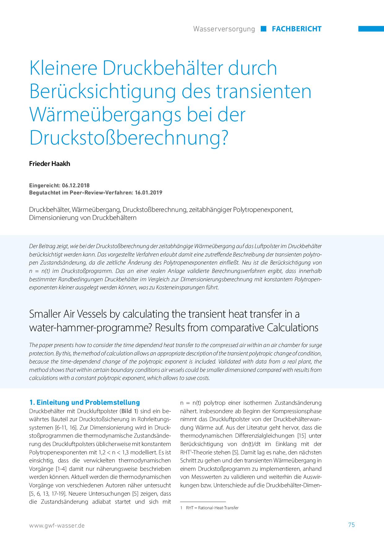 Kleinere Druckbehälter durch Berücksichtigung des transienten Wärmeübergangs bei der Druckstoßberechnung?