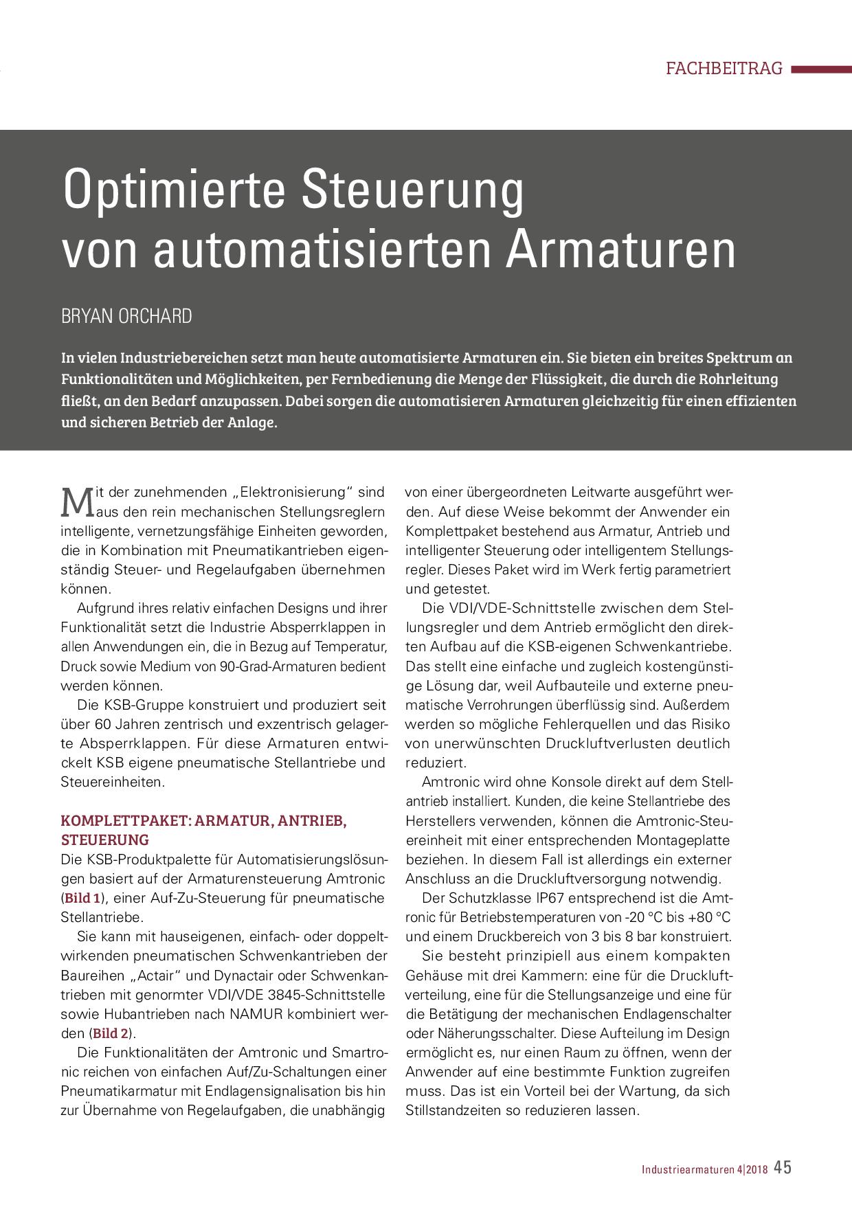 Optimierte Steuerung von automatisierten Armaturen
