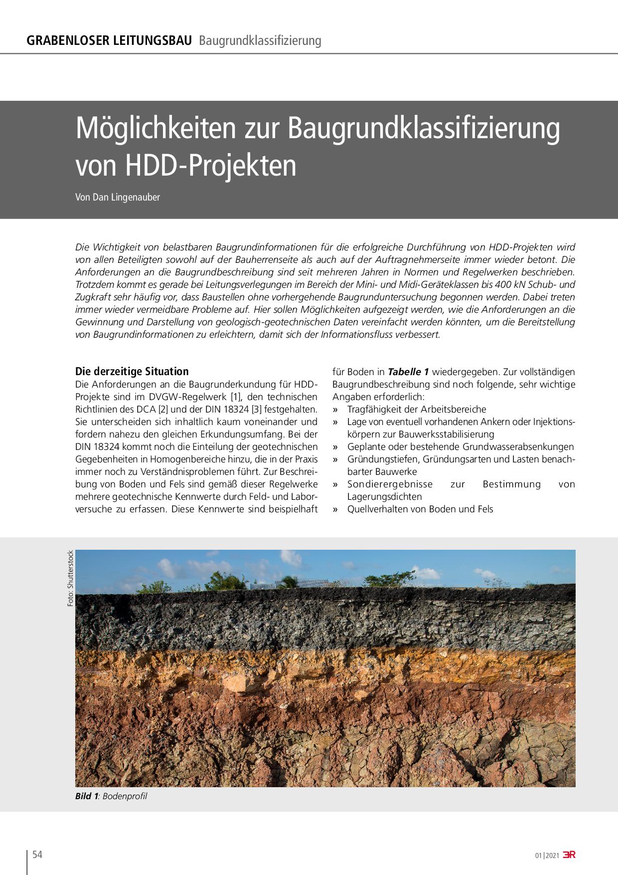 Möglichkeiten zur Baugrundklassifizierung von HDD-Projekten