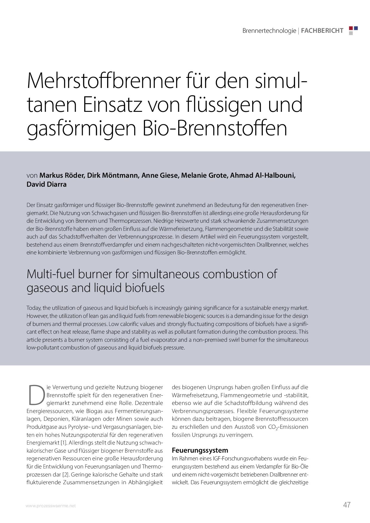Mehrstoffbrenner für den simultanen Einsatz von flüssigen und gasförmigen Bio-Brennstoffen