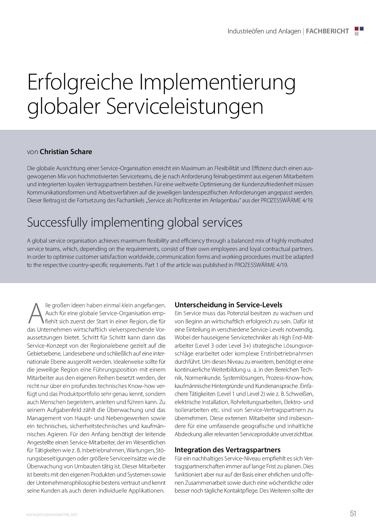 Erfolgreiche Implementierung globaler Serviceleistungen