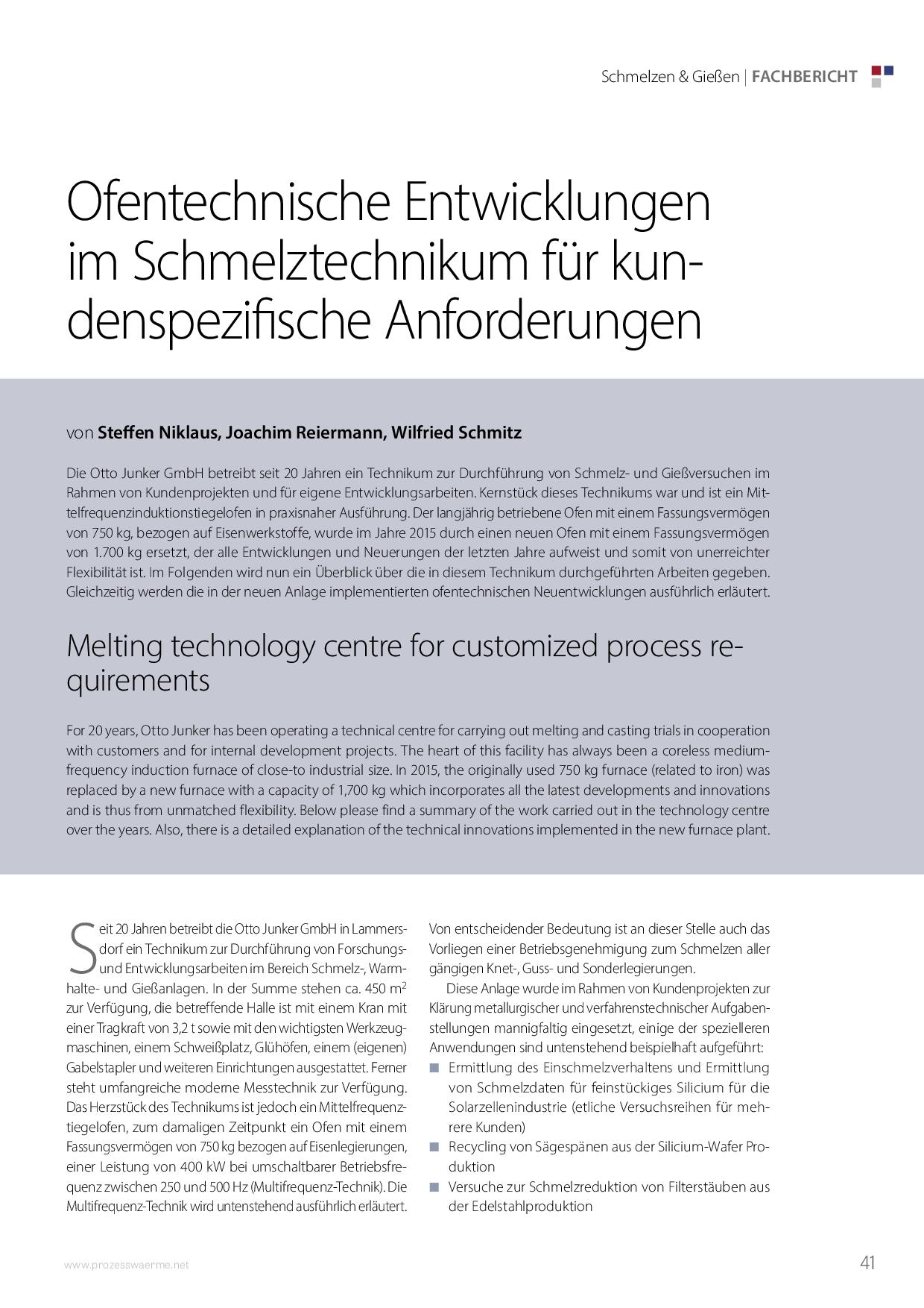 Ofentechnische Entwicklungen im Schmelztechnikum für kundenspezifische Anforderungen