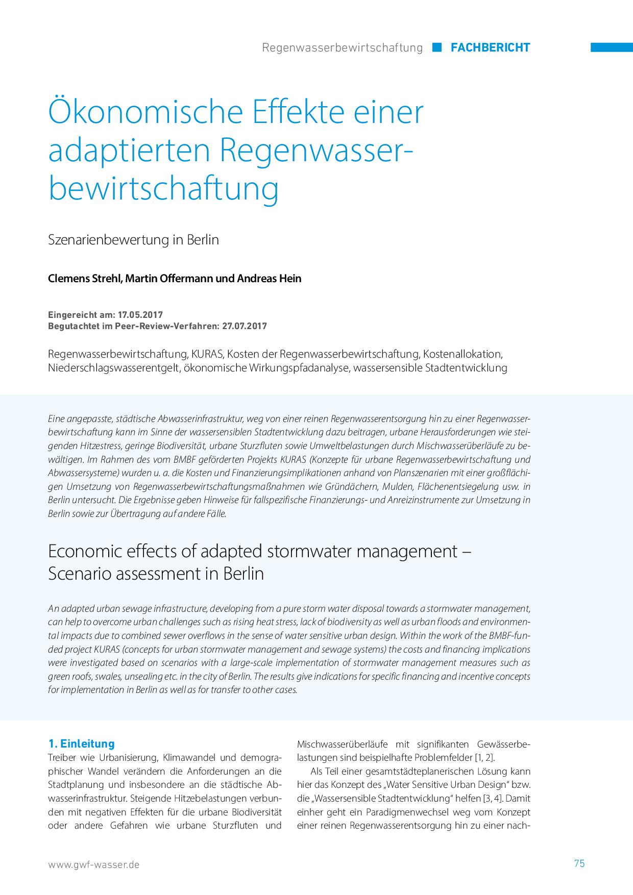 Ökonomische Effekte einer adaptierten Regenwasserbewirtschaftung