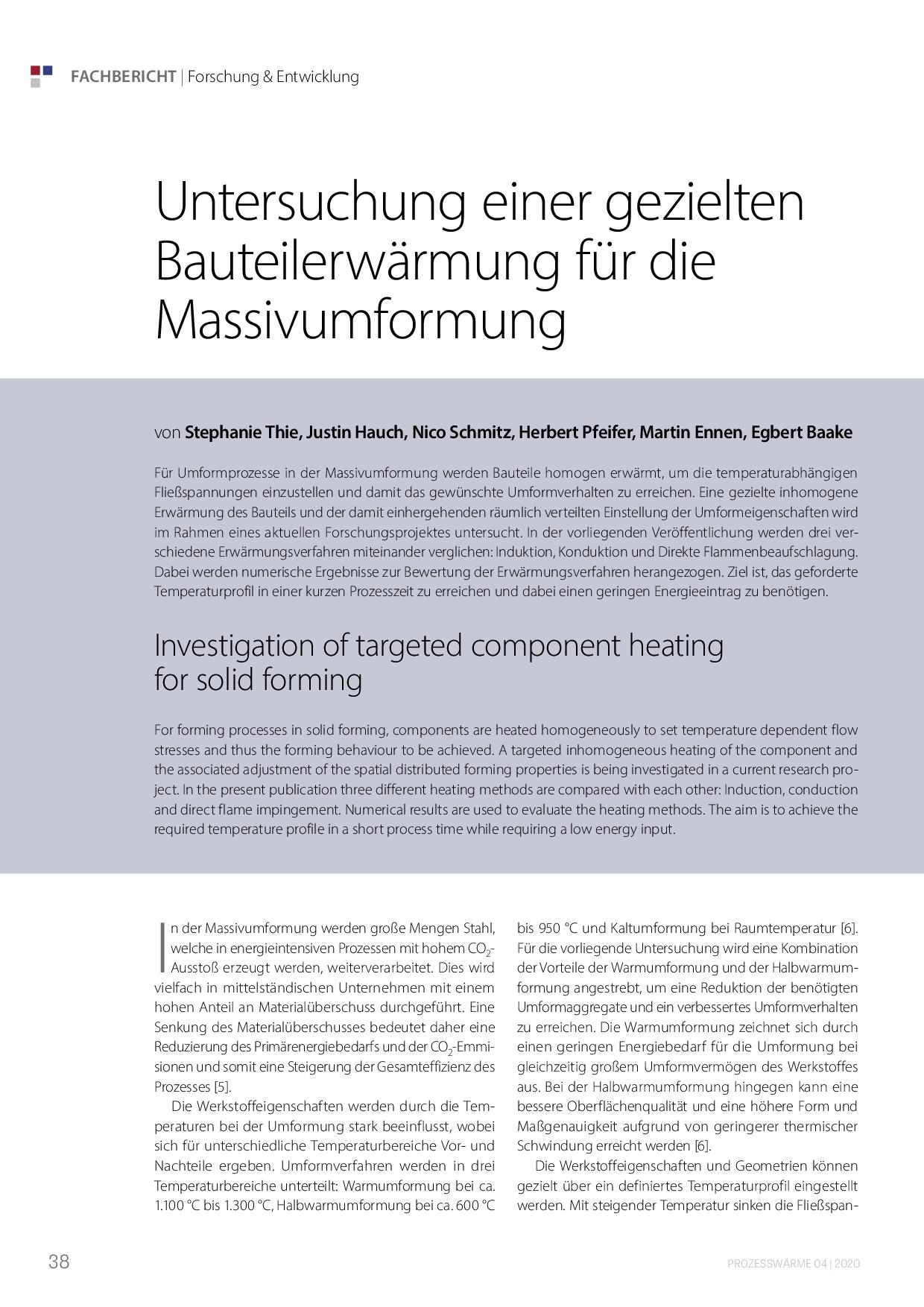 Untersuchung einer gezielten Bauteilerwärmung für die Massivumformung