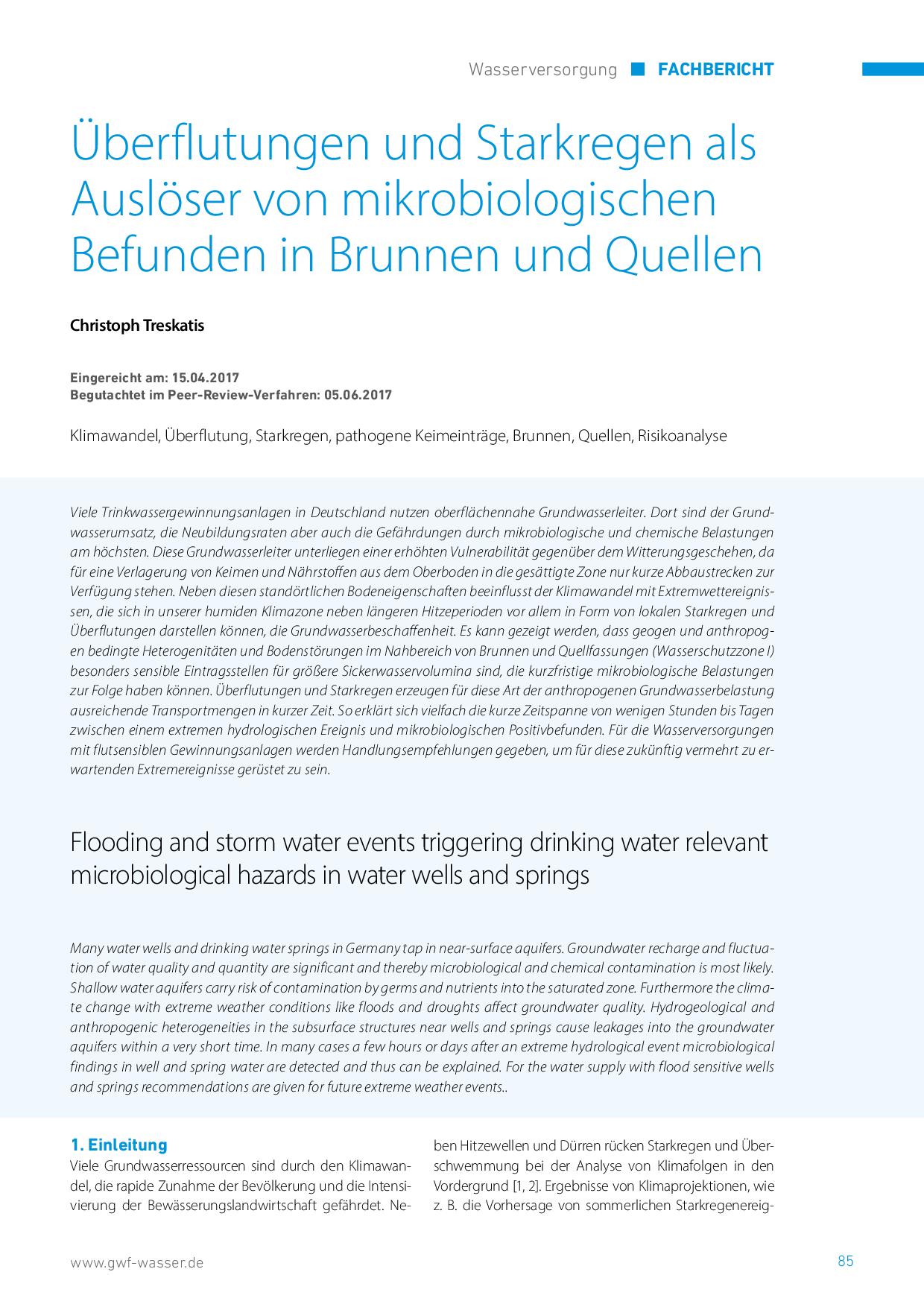 Überflutungen und Starkregen als Auslöser von mikrobiologischen Befunden in Brunnen und Quellen