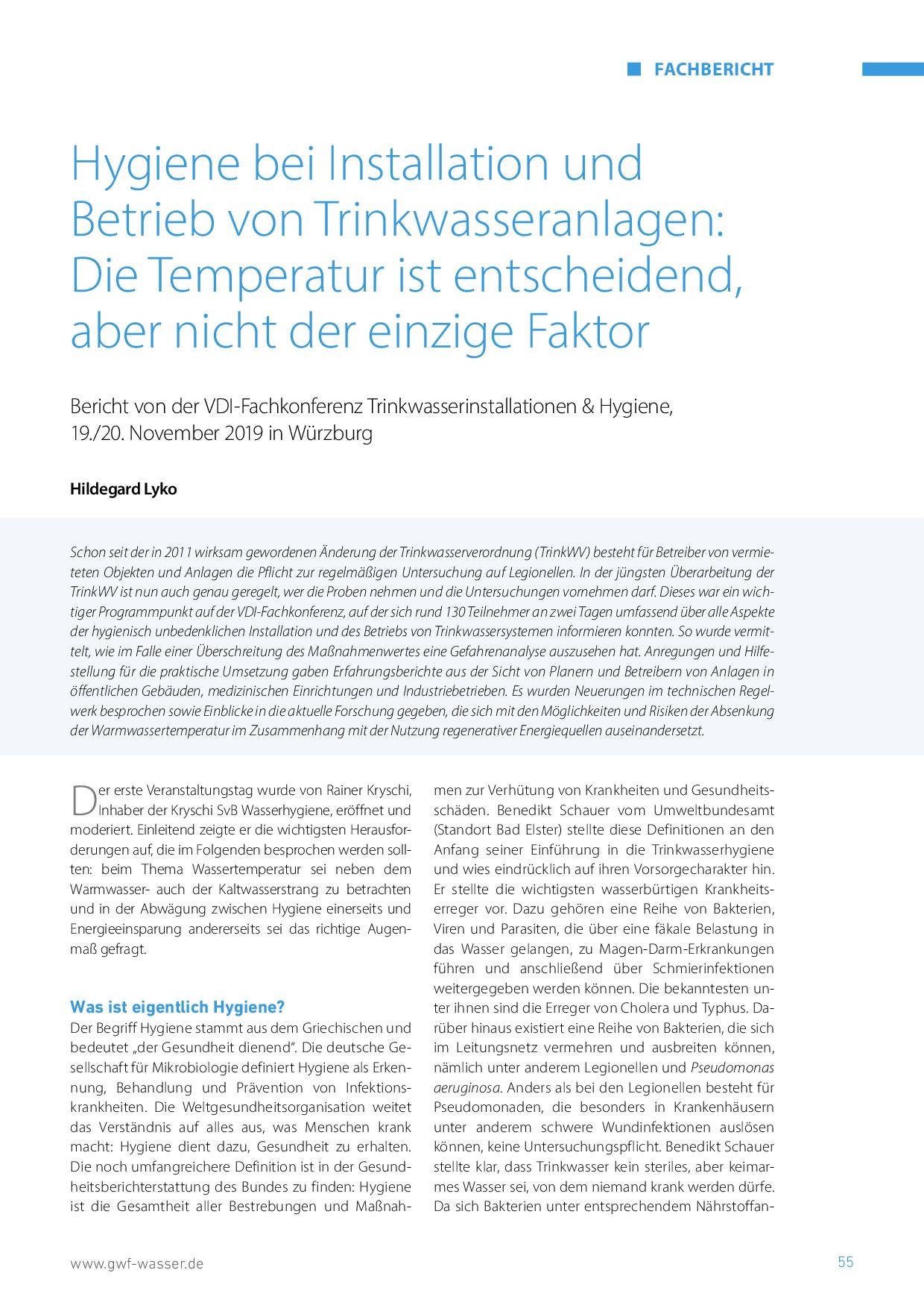 Hygiene bei Installation und Betrieb von Trinkwasseranlagen: Die Temperatur ist entscheidend, aber nicht der einzige Faktor