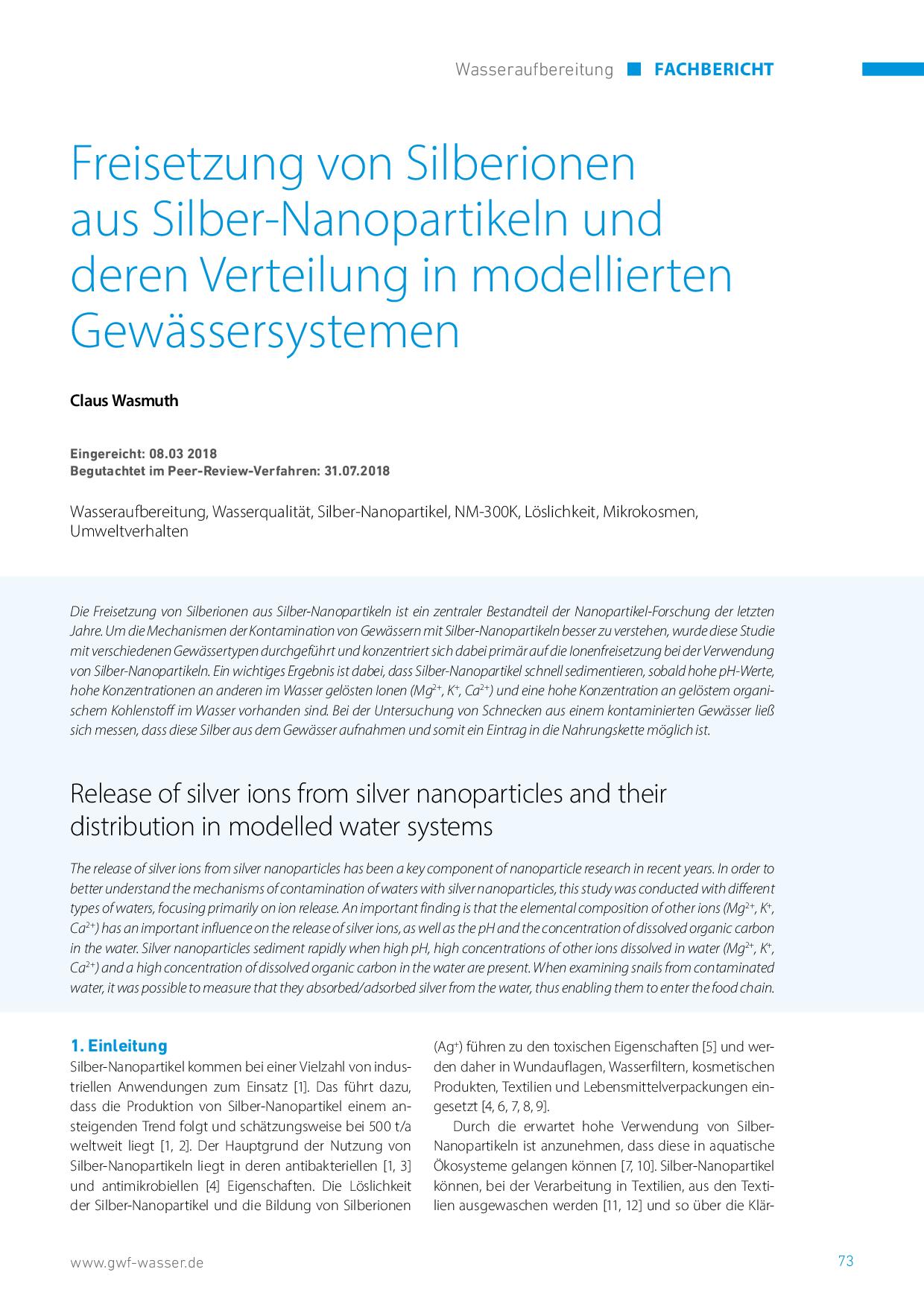 Freisetzung von Silberionen aus Silber-Nanopartikeln und deren Verteilung in modellierten Gewässersystemen