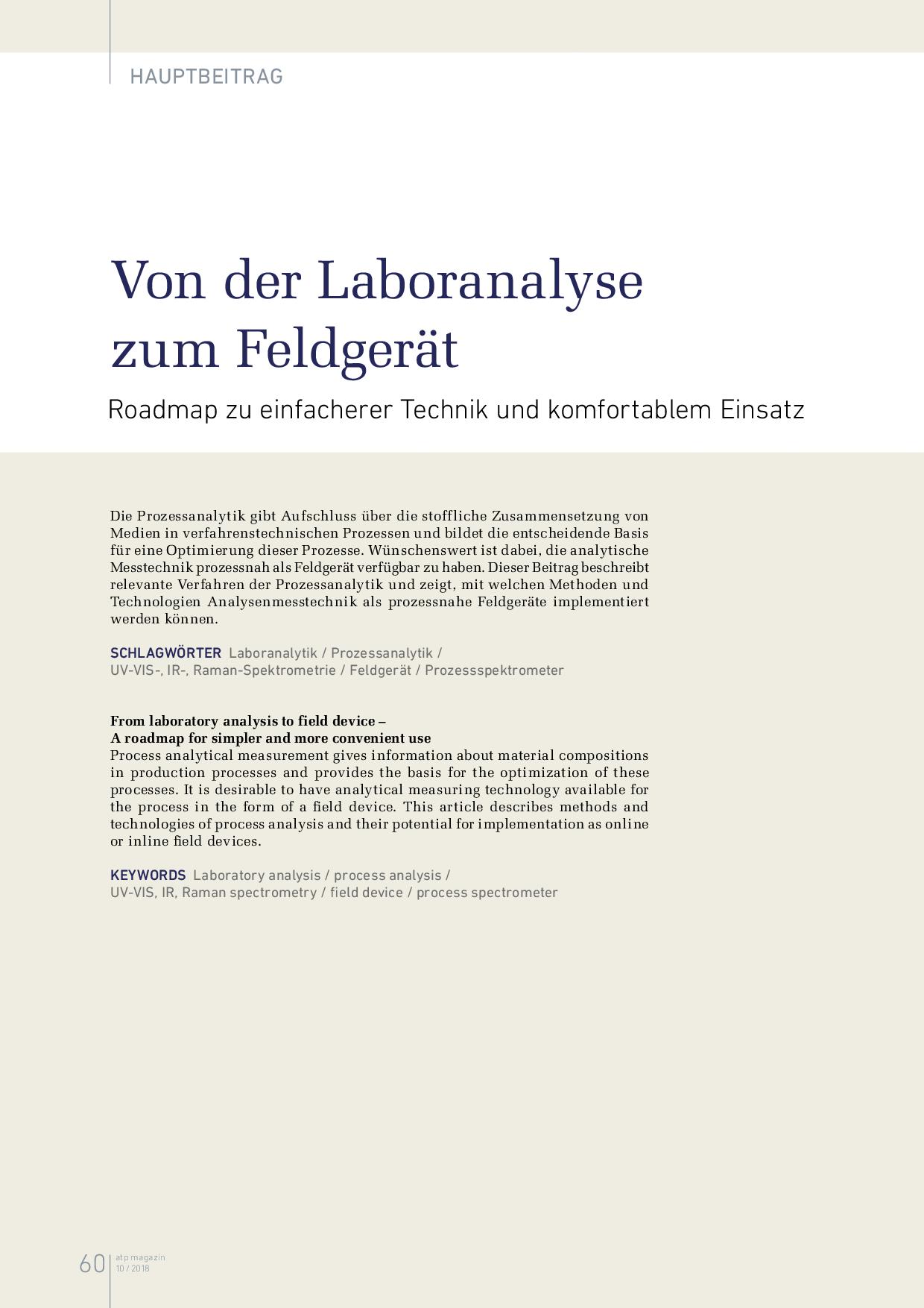 Von der Laboranalyse zum Feldgerät