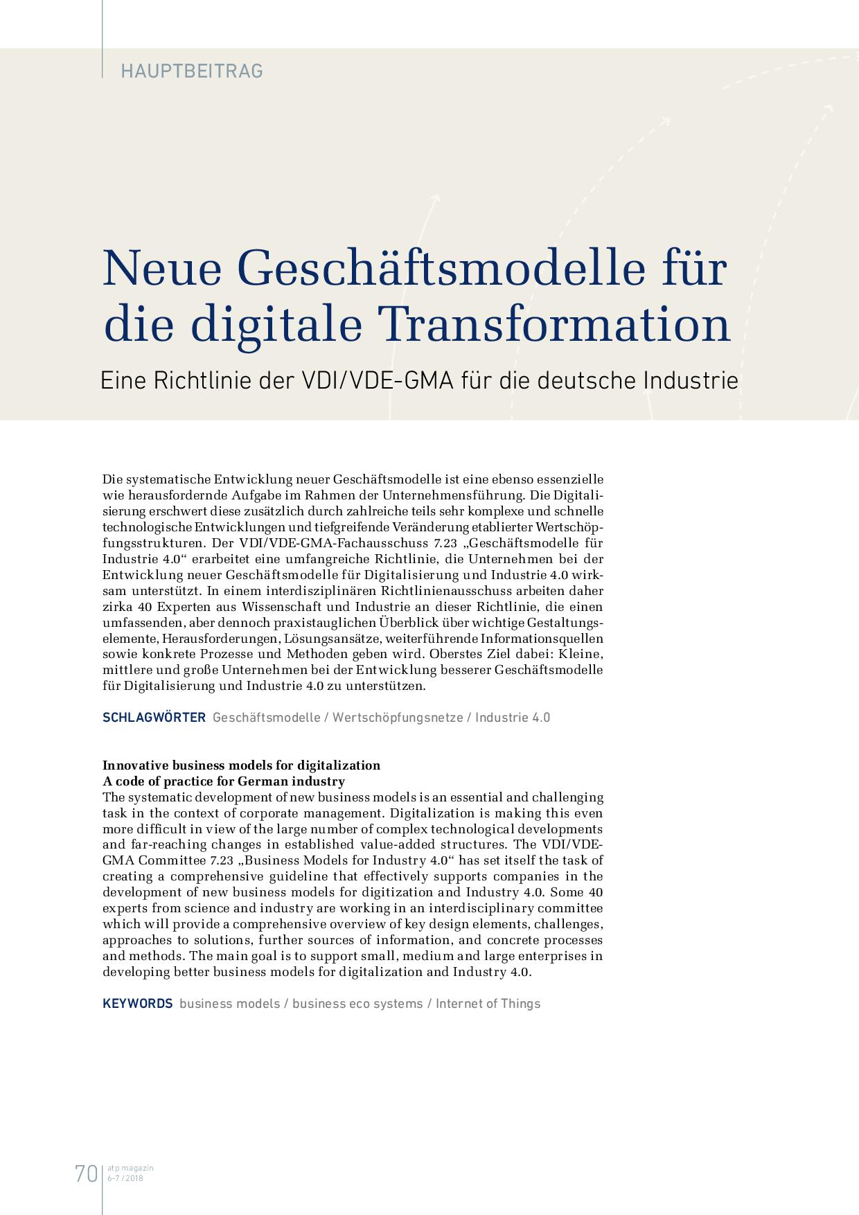 Neue Geschäftsmodelle für die digitale Transformation