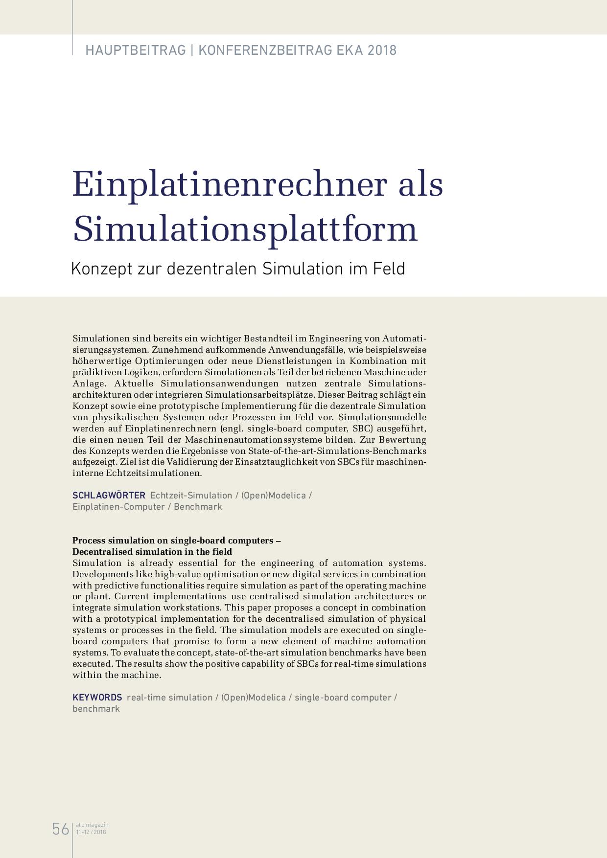 Einplatinenrechner als Simulationsplattform