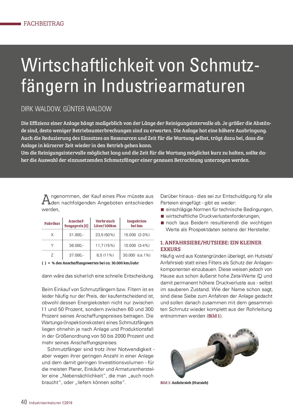 Wirtschaftlichkeit von Schmutzfängern in Industriearmaturen