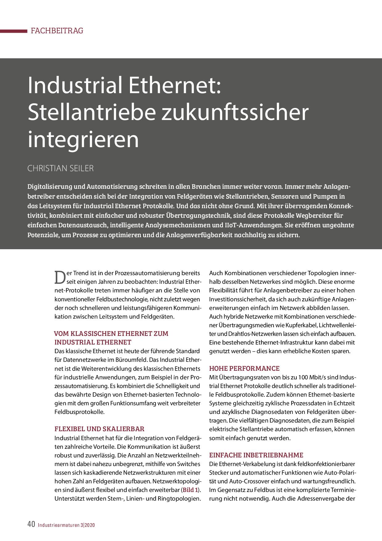 Industrial Ethernet: Stellantriebe zukunftssicher integrieren