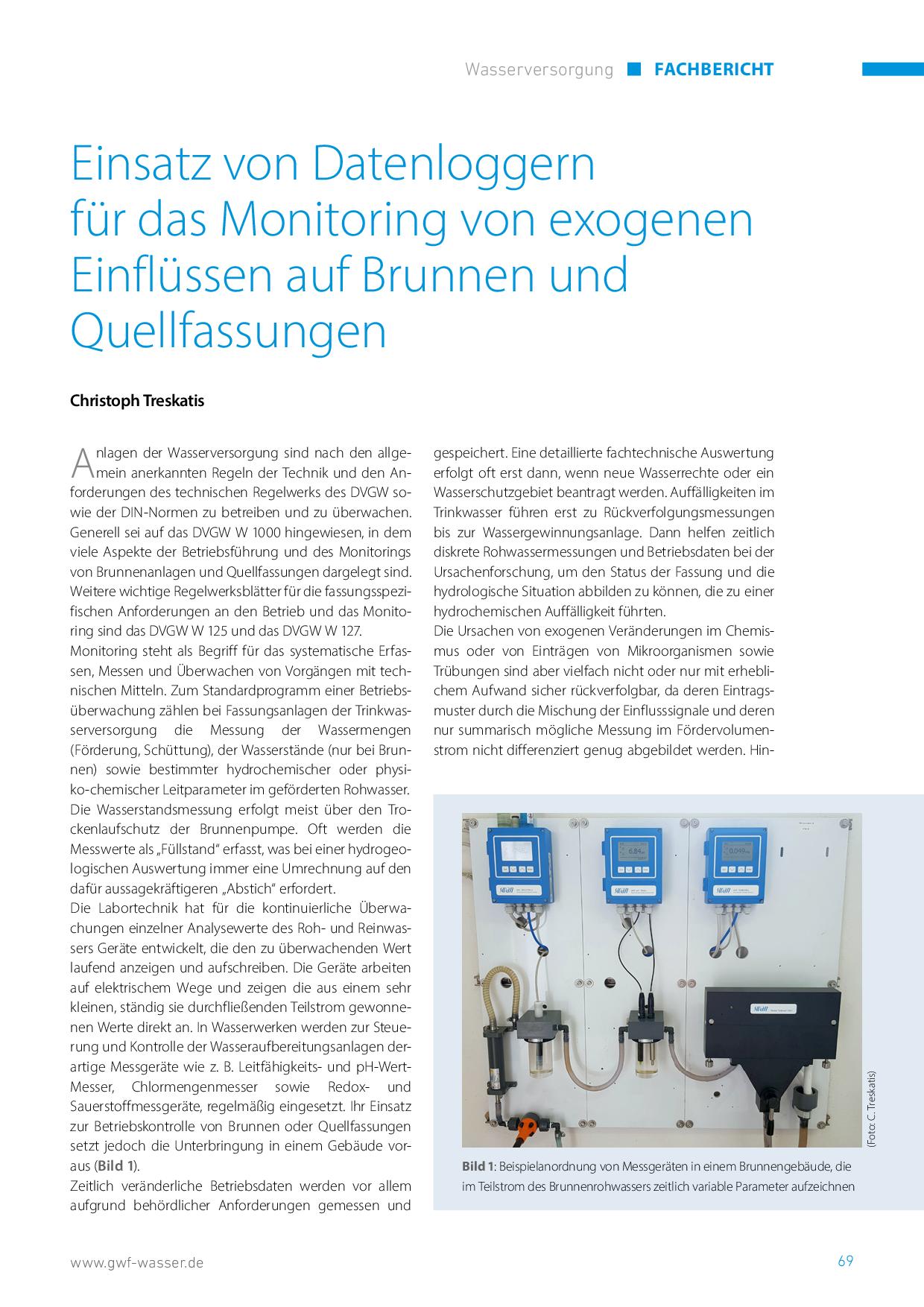 Einsatz von Datenloggern für das Monitoring von exogenen Einflüssen auf Brunnen und Quellfassungen