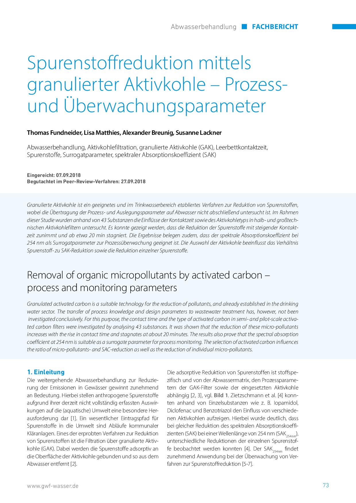 Spurenstoffreduktion mittels granulierter Aktivkohle – Prozess- und Überwachungsparameter
