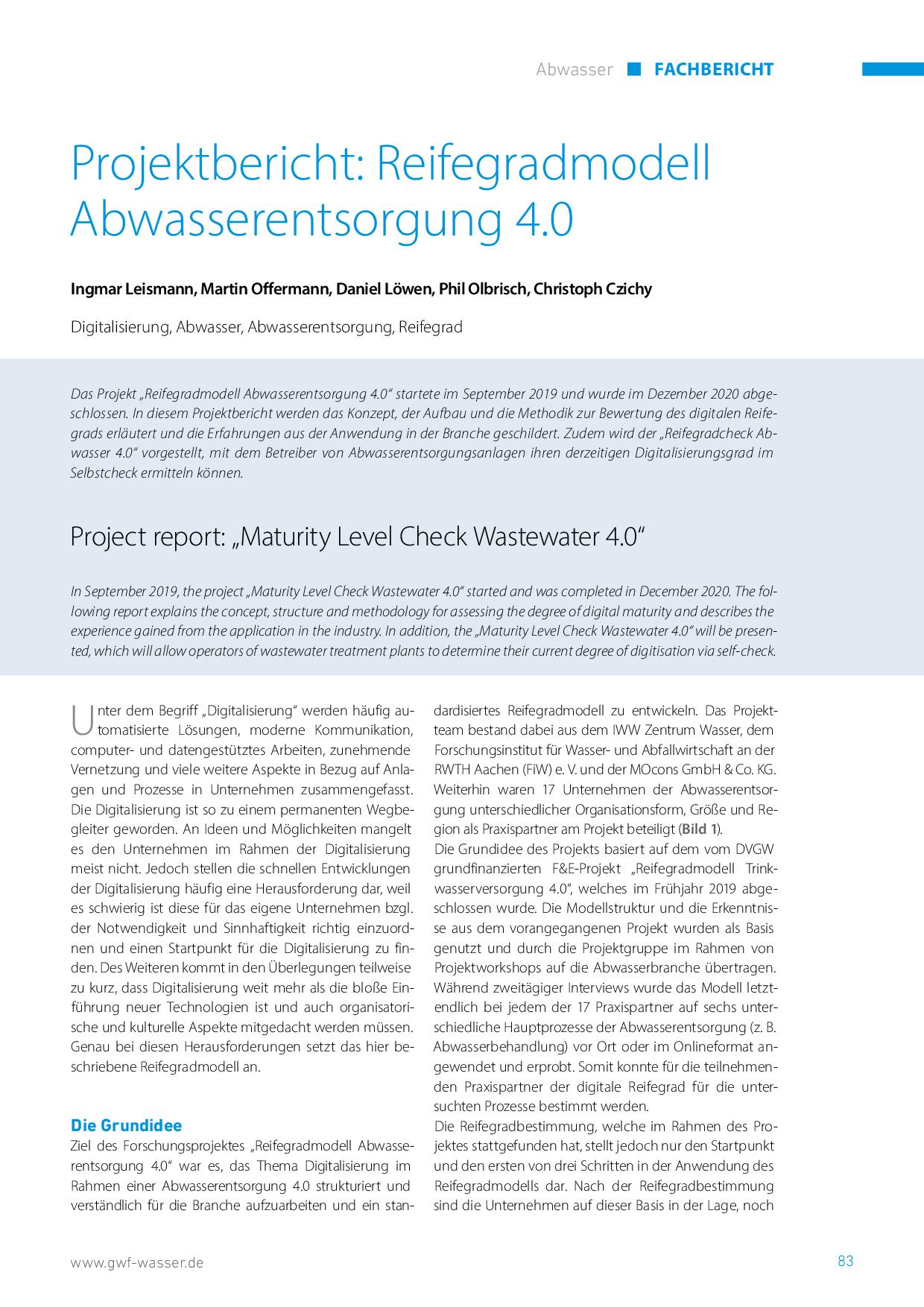 Projektbericht: Reifegradmodell Abwasserentsorgung 4.0