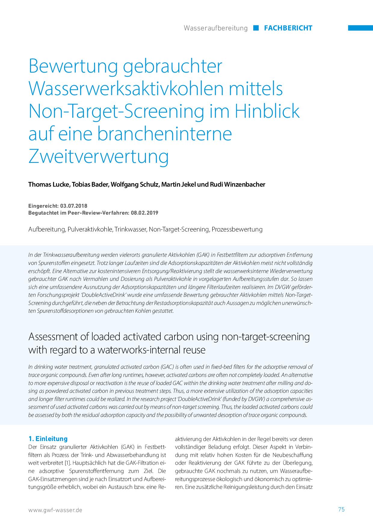 Bewertung gebrauchter Wasserwerksaktivkohlen mittels Non-Target-Screening im Hinblick auf eine brancheninterne Zweitverwertung