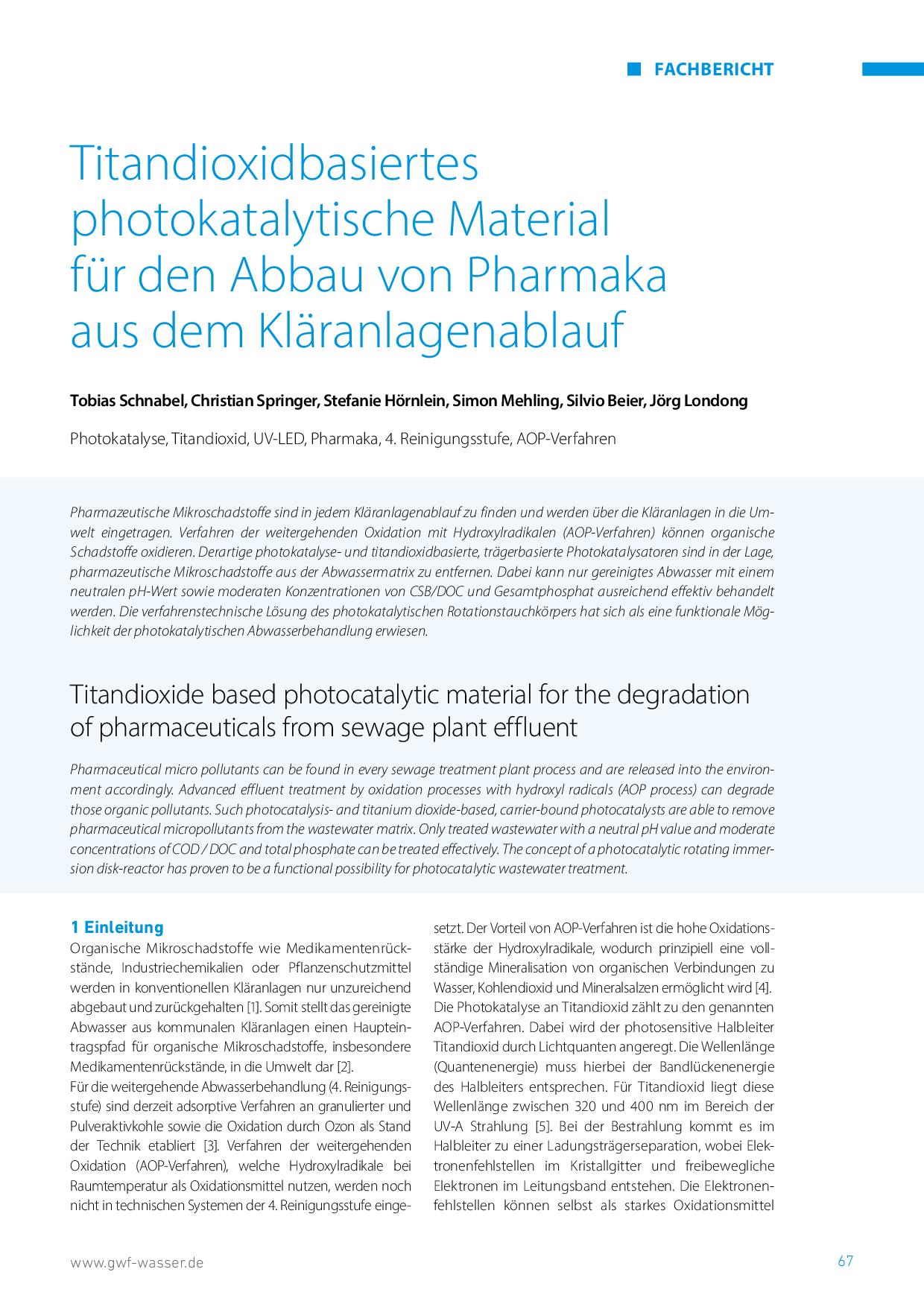 Titandioxidbasiertes photokatalytische Material für den Abbau von Pharmaka aus dem Kläranlagenablauf