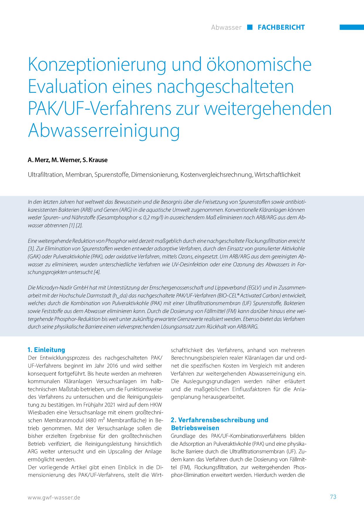 Konzeptionierung und ökonomische Evaluation eines nachgeschalteten PAK/UF-Verfahrens zur weitergehenden Abwasserreinigung