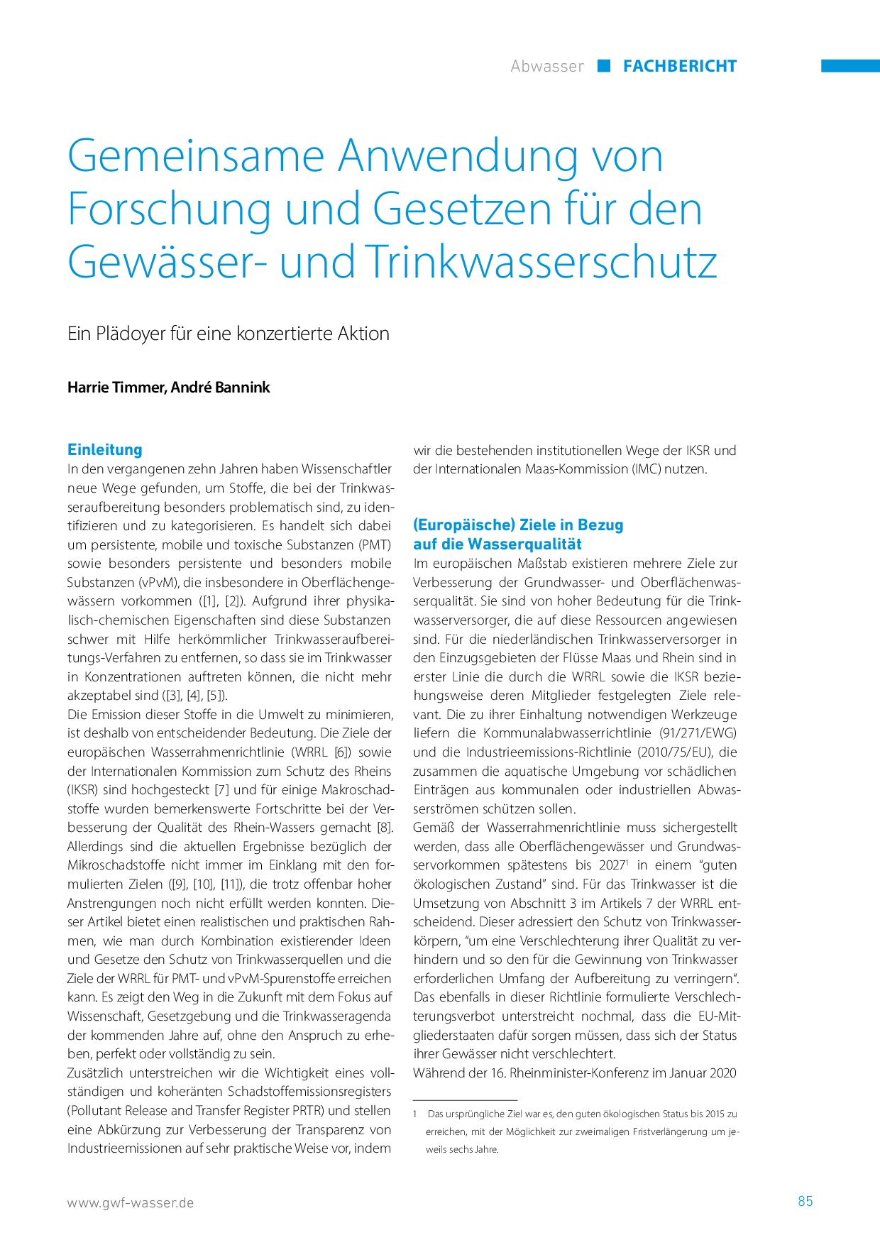 Gemeinsame Anwendung von Forschung und Gesetzen für den Gewässer- und Trinkwasserschutz