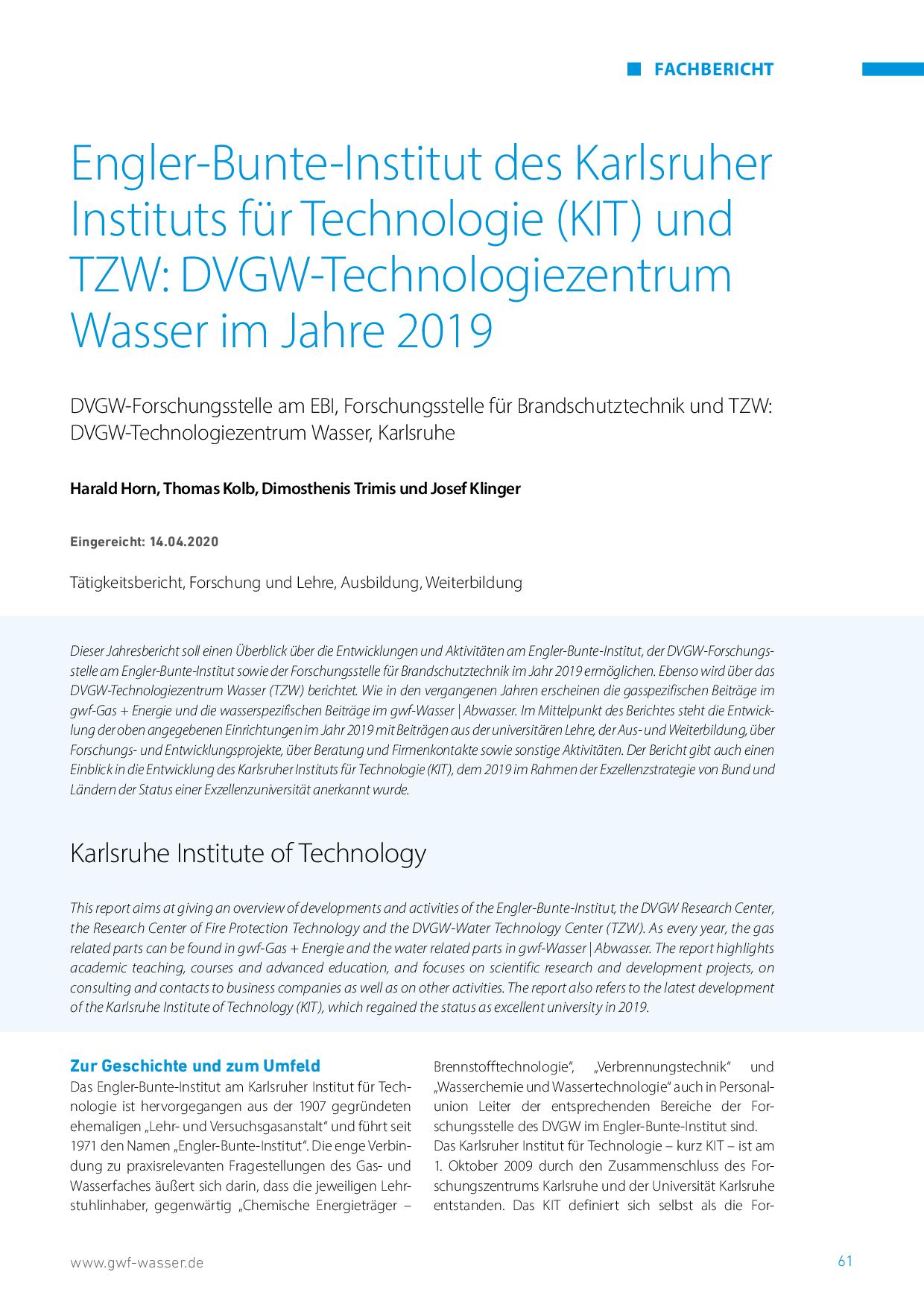 Engler-Bunte-Institut des Karlsruher Instituts für Technologie (KIT) und TZW: DVGW-Technologiezentrum Wasser im Jahre 2019