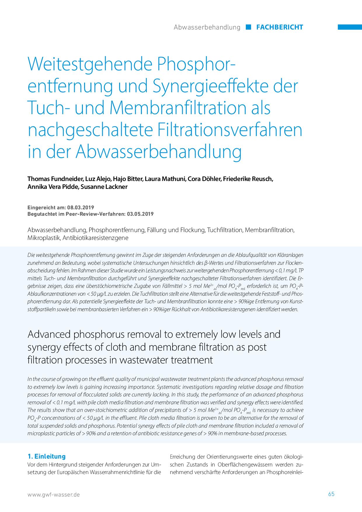 Weitestgehende Phosphorentfernung und Synergieeffekte der Tuch- und Membranfiltration als nachgeschaltete Filtrationsverfahren in der Abwasserbehandlung