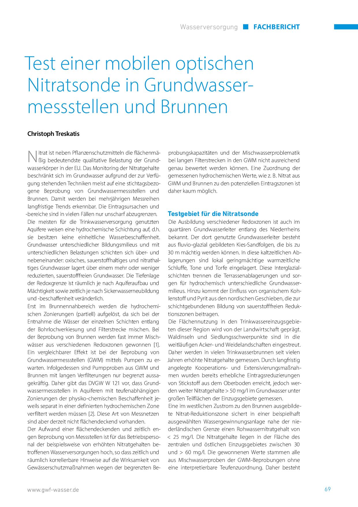 Test einer mobilen optischen Nitratsonde in Grundwassermessstellen und Brunnen