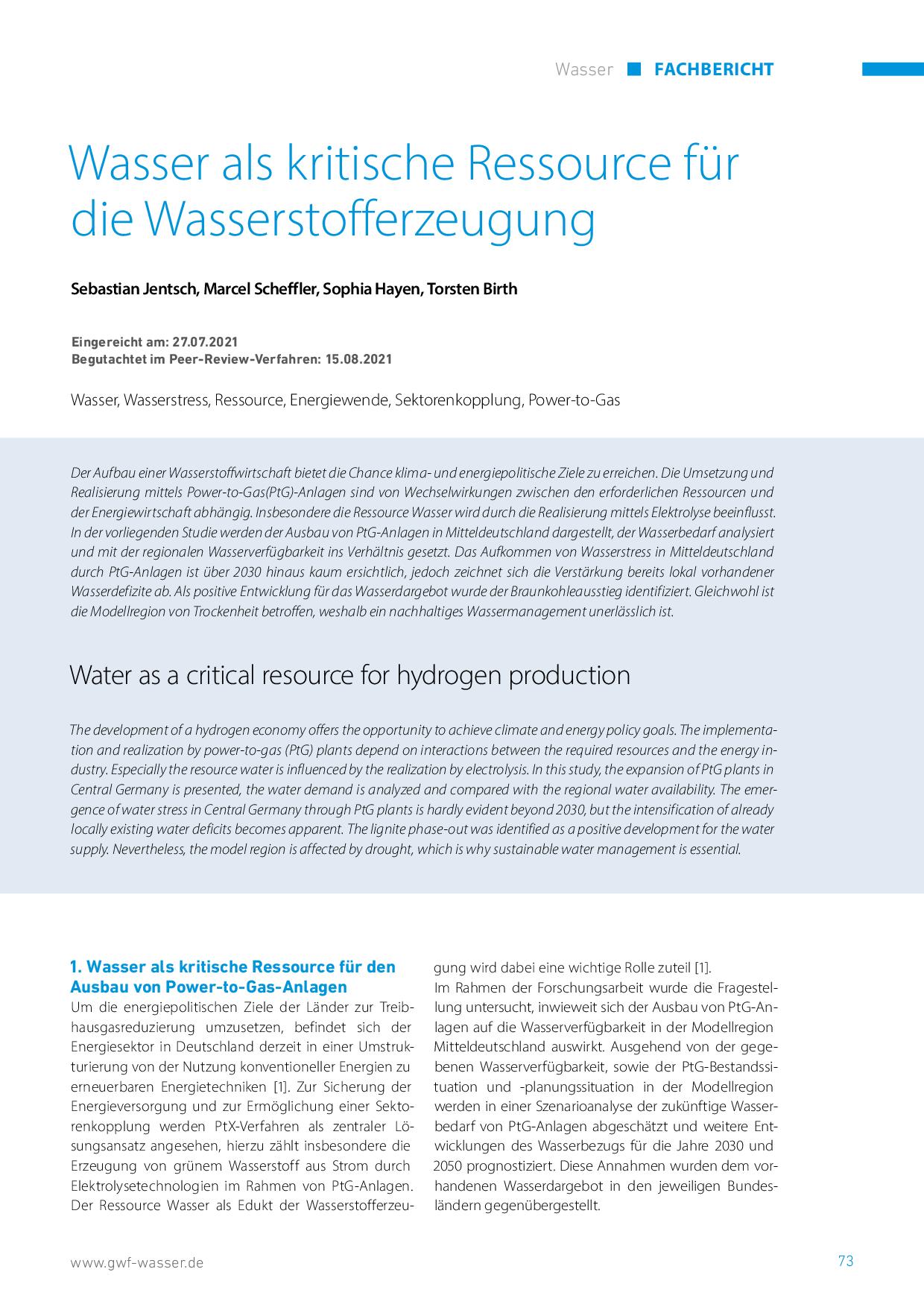 Wasser als kritische Ressource für die Wasserstofferzeugung