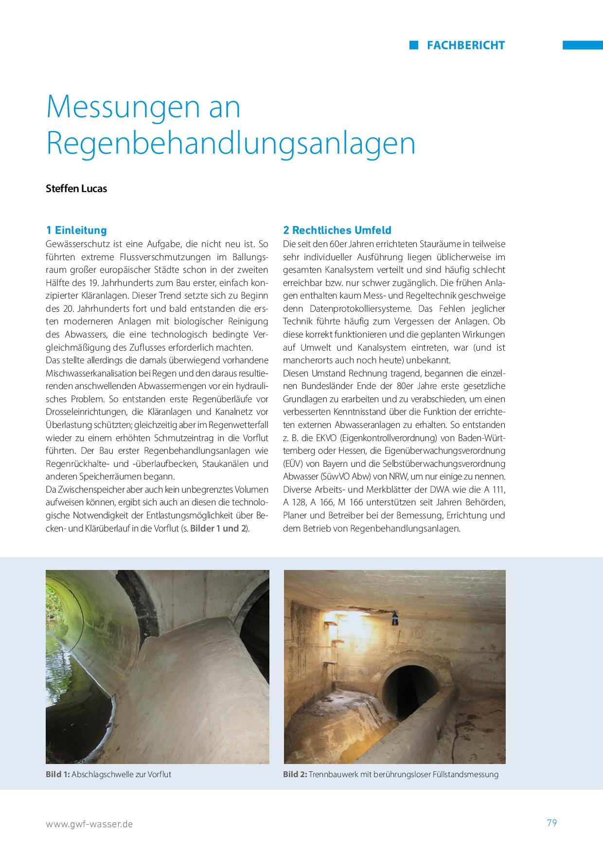 Messungen an Regenbehandlungsanlagen