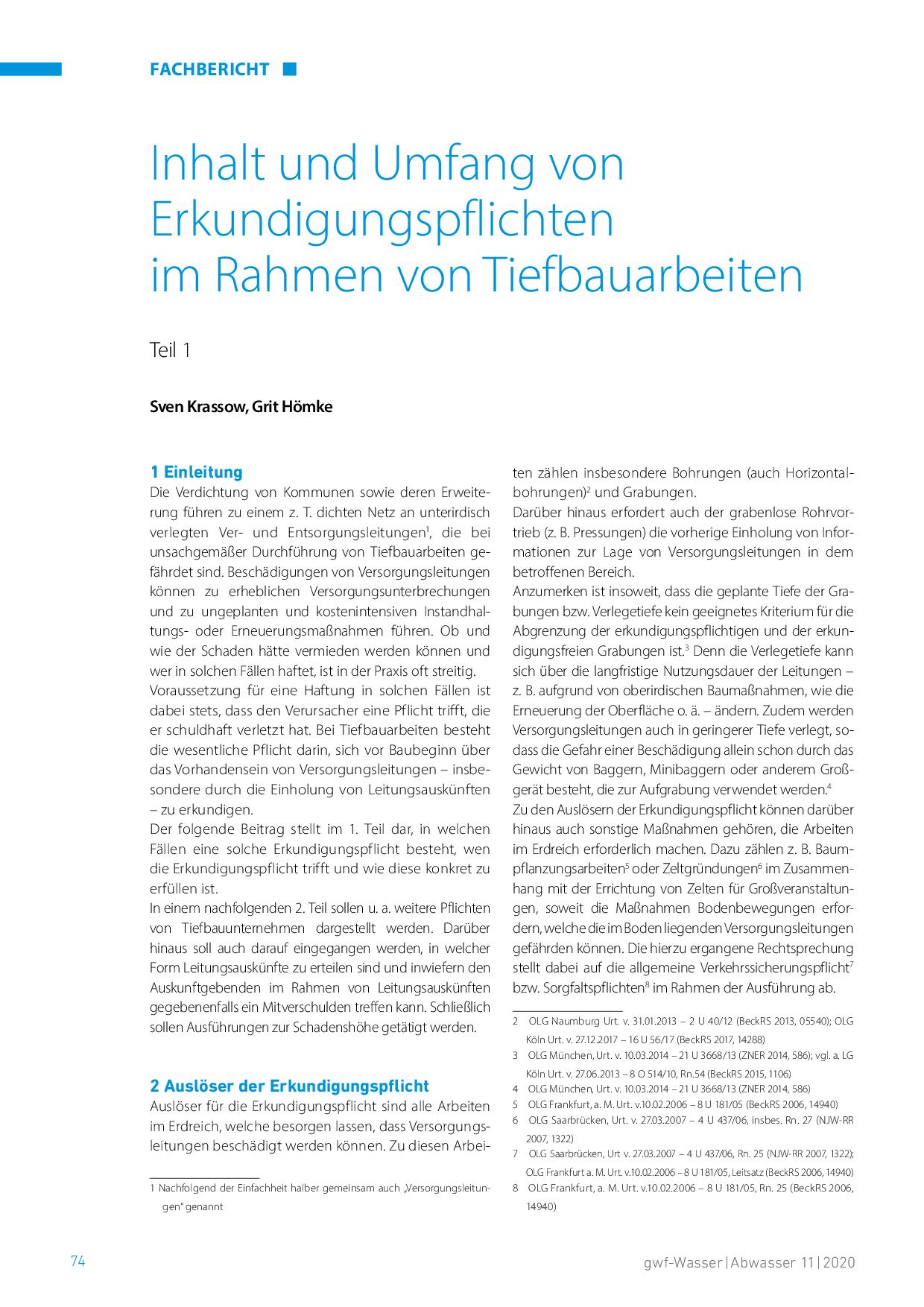Inhalt und Umfang von Erkundigungspflichten im Rahmen von Tiefbauarbeiten