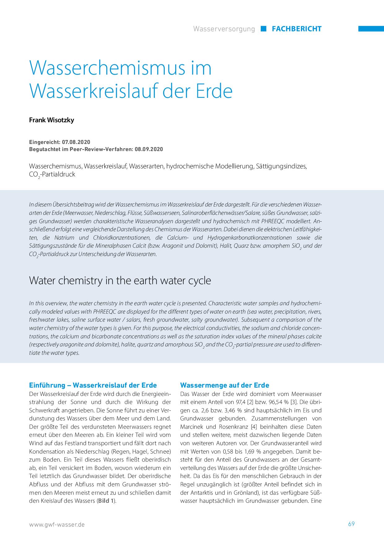 Wasserchemismus im Wasserkreislauf der Erde