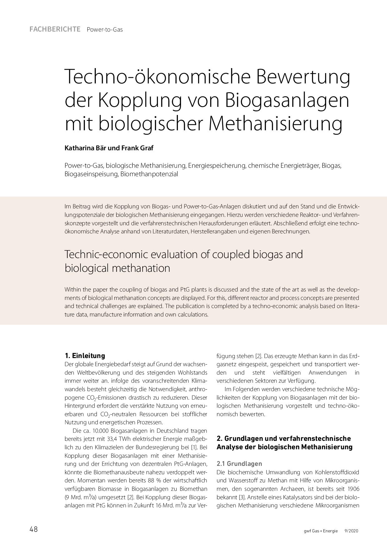 Techno-ökonomische Bewertung der Kopplung von Biogasanlagen mit biologischer Methanisierung