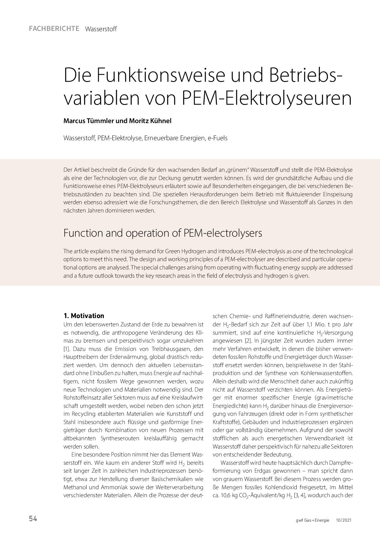 Die Funktionsweise und Betriebsvariablen von PEM-Elektrolyseuren