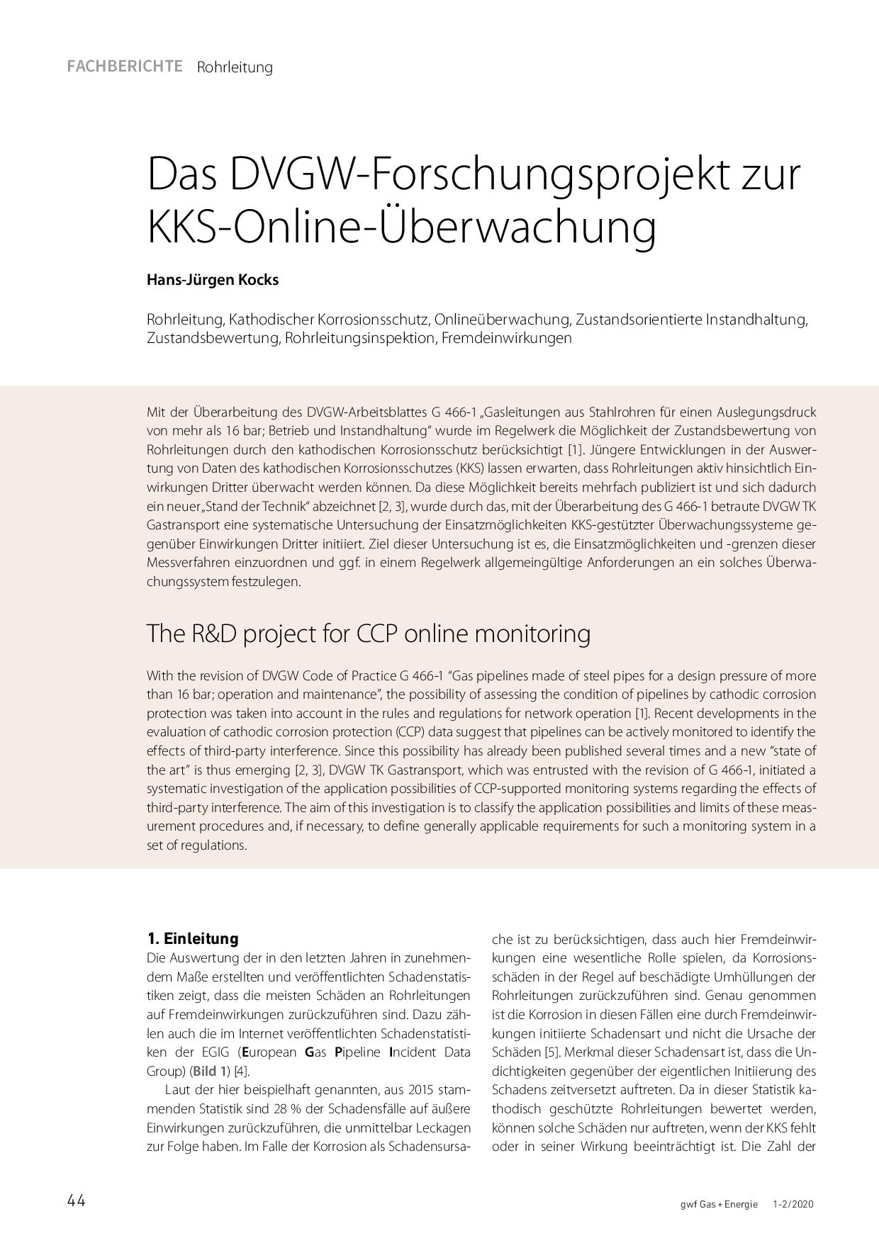 Das DVGW-Forschungsprojekt zur KKS-Online-Überwachung