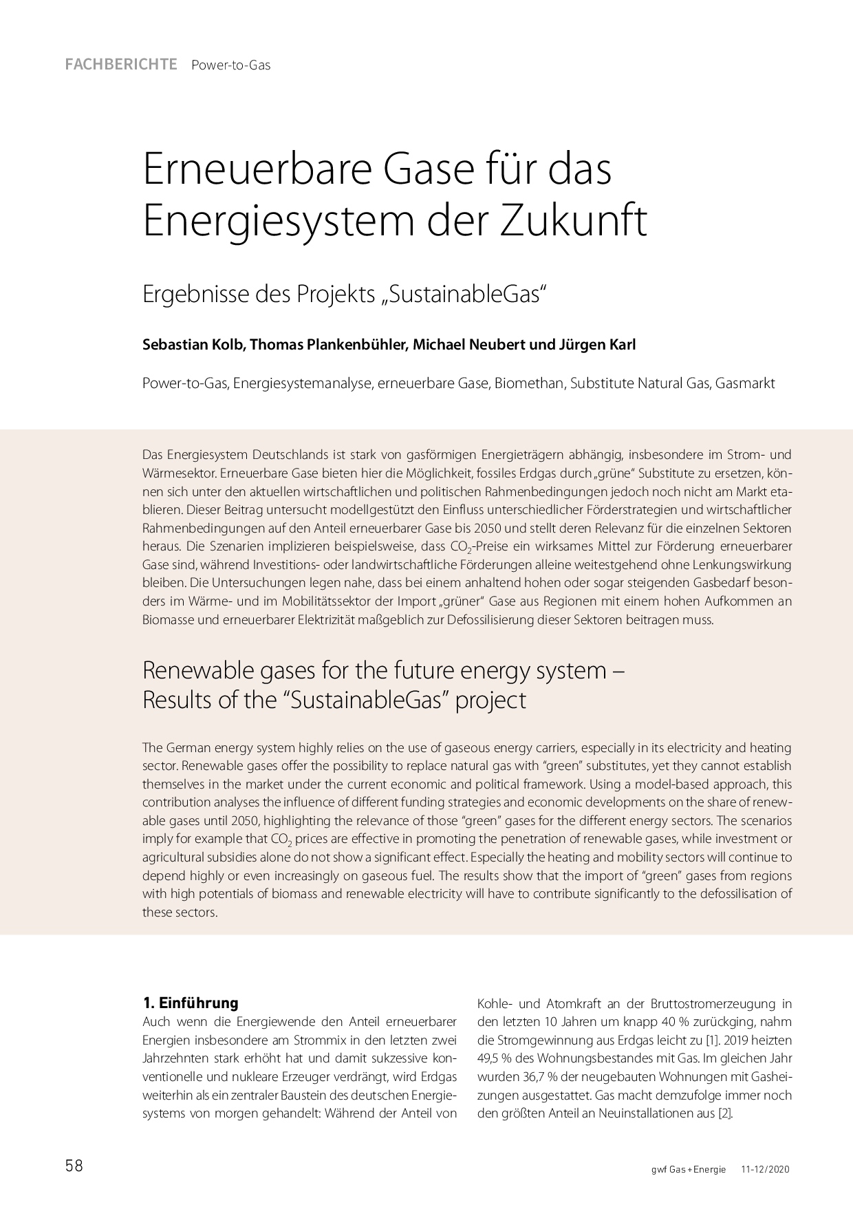 Erneuerbare Gase für das Energiesystem der Zukunft
