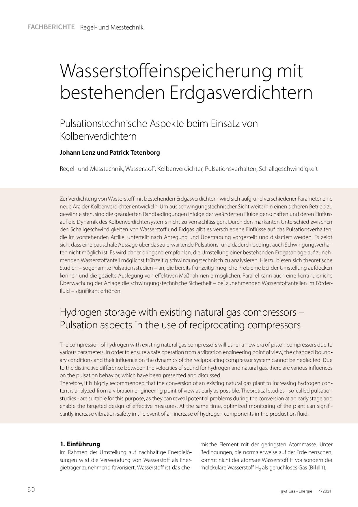 Wasserstoffeinspeicherung mit bestehenden Erdgasverdichtern