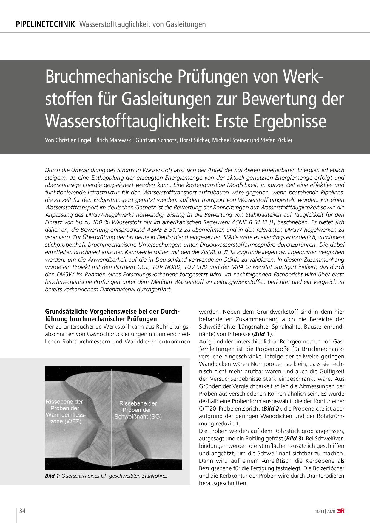 Bruchmechanische Prüfungen von Werkstoffen für Gasleitungen zur Bewertung der Wasserstofftauglichkeit: Erste Ergebnisse
