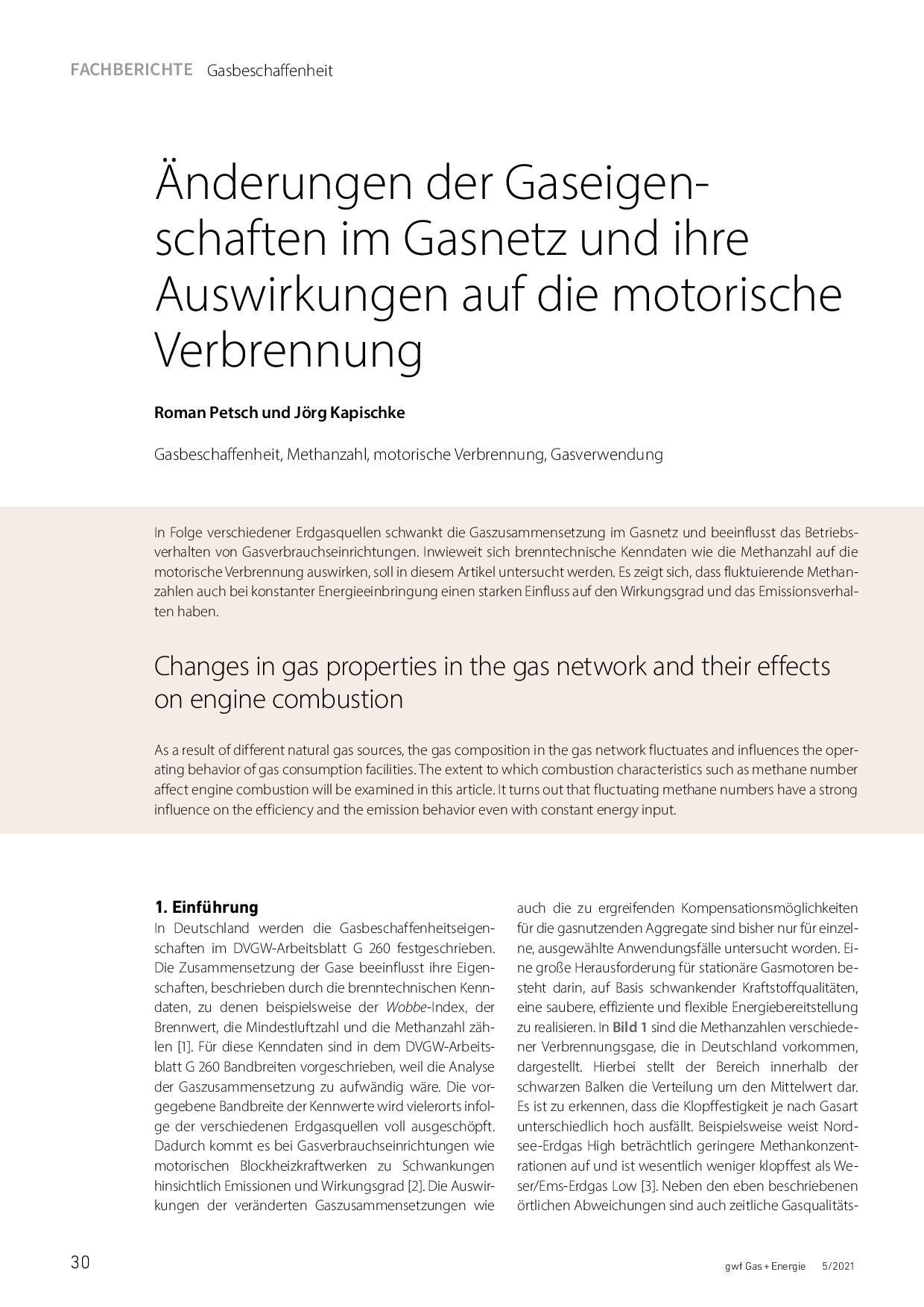 Änderungen der Gaseigenschaften im Gasnetz und ihre Auswirkungen auf die motorische Verbrennung