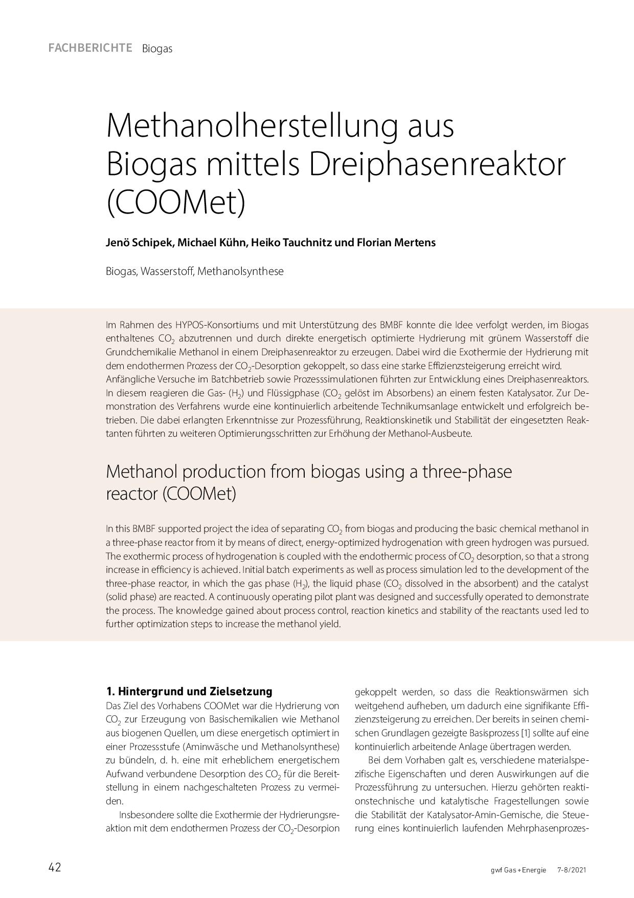 Methanolherstellung aus Biogasmittels Dreiphasenreaktor (COOMet)