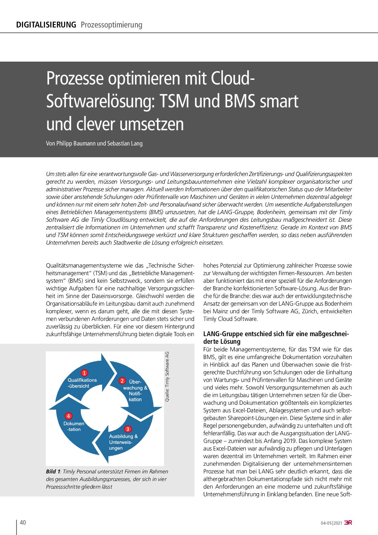 Prozesse optimieren mit Cloud- Softwarelösung: TSM und BMS smart und clever umsetzen