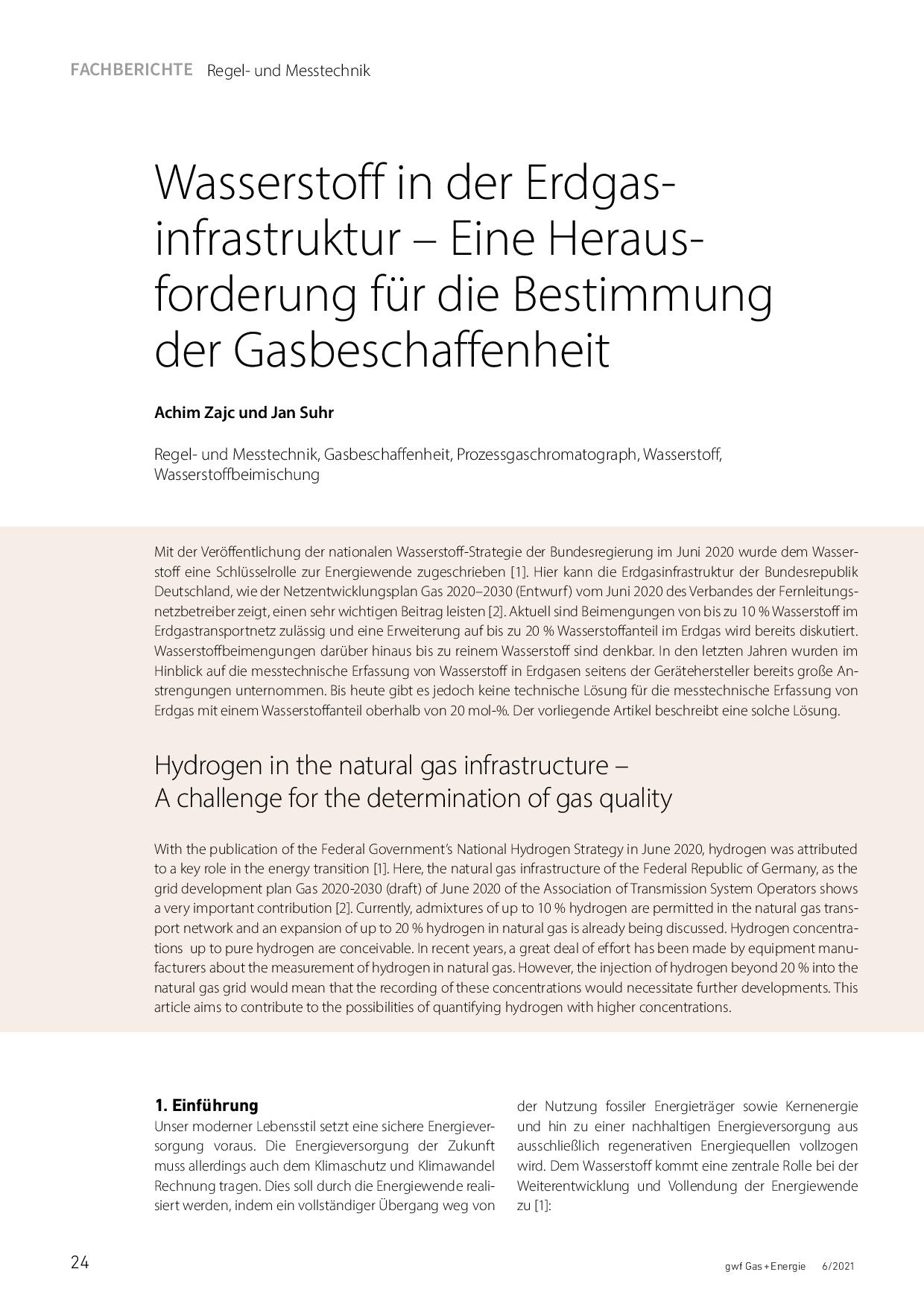 Wasserstoff in der Erdgasinfrastruktur – Eine Herausforderung für die Bestimmung derGasbeschaffenheit