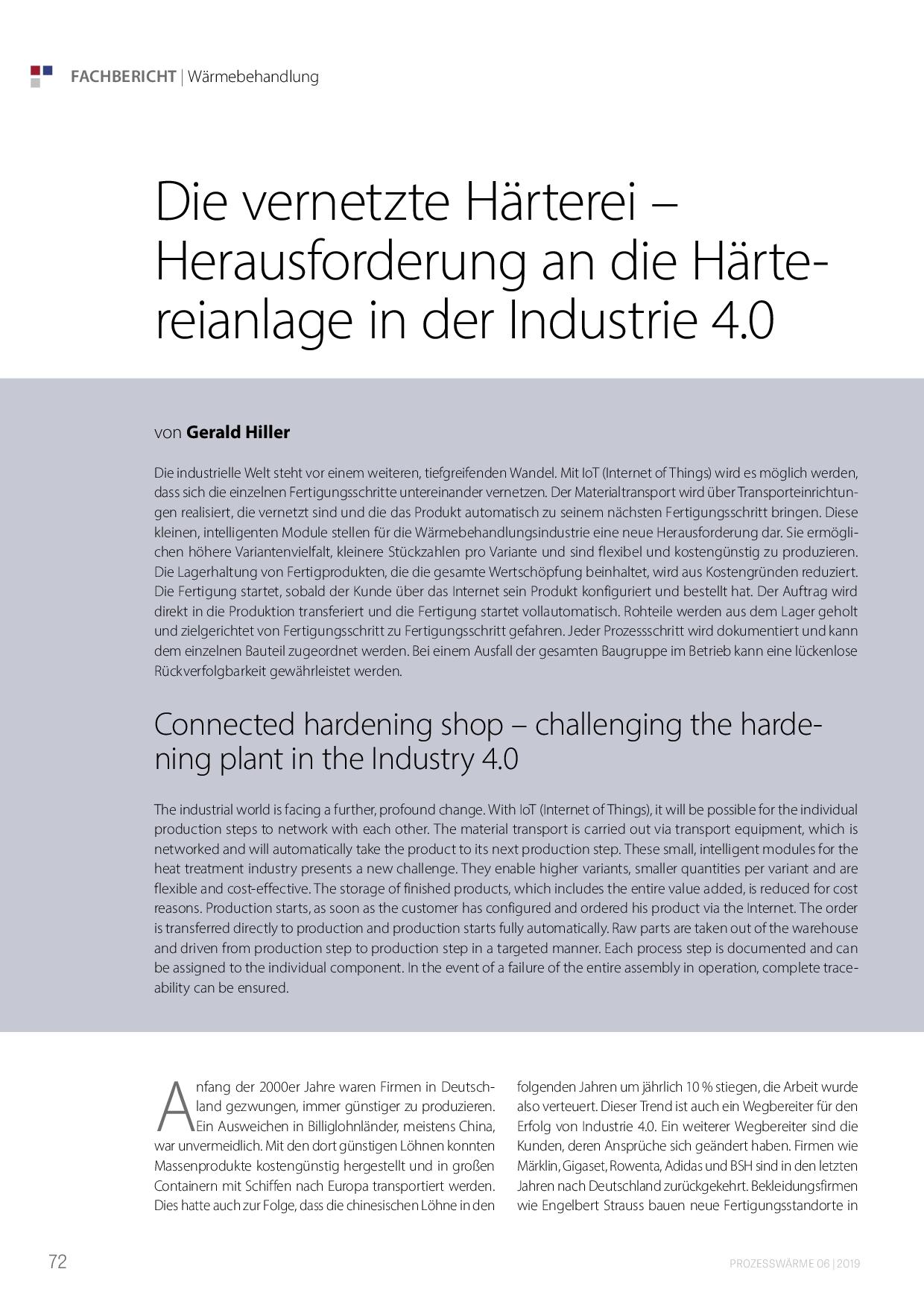 Die vernetzte Härterei – Herausforderung an die Härtereianlage in der Industrie 4.0