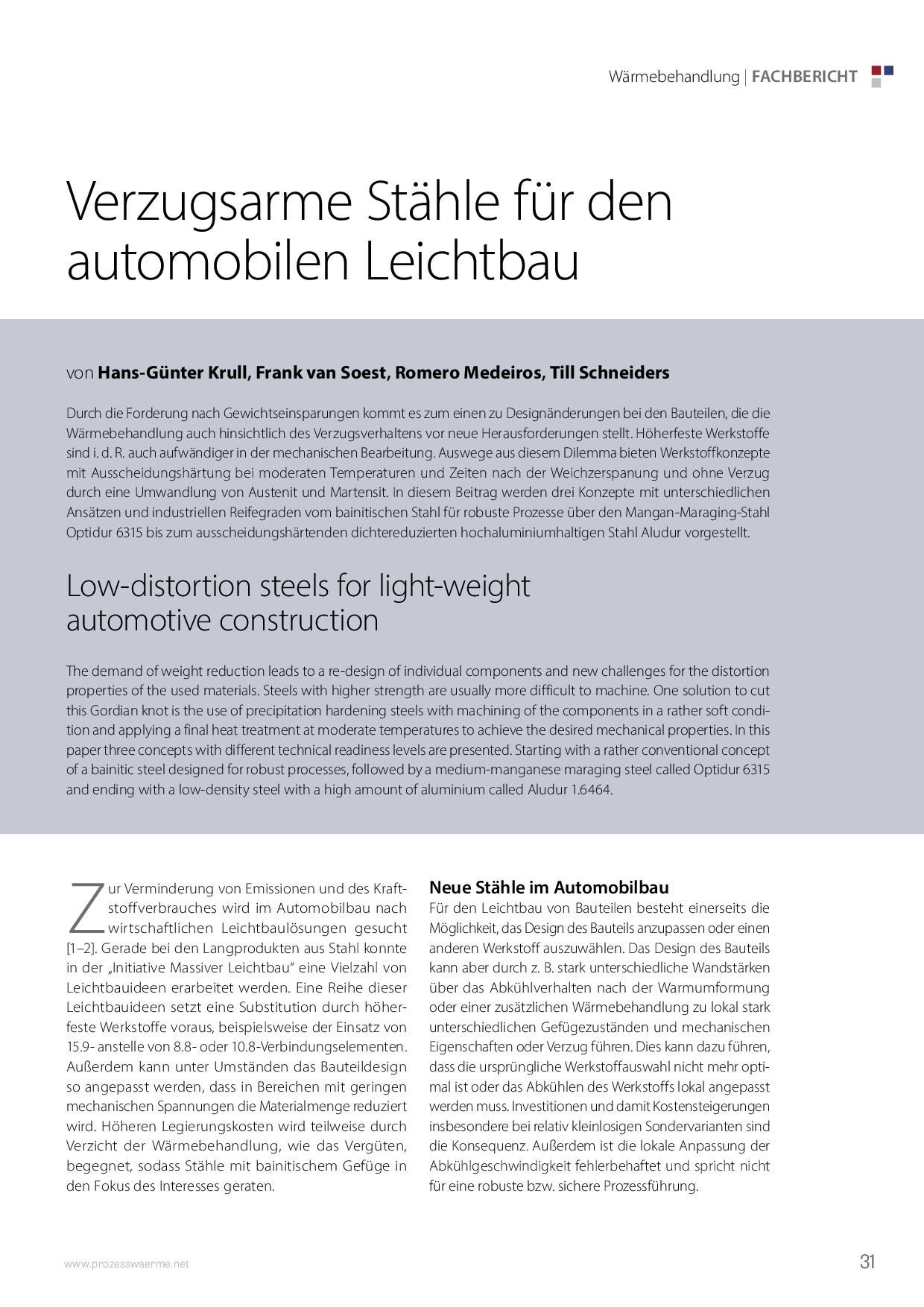 Verzugsarme Stähle für den automobilen Leichtbau