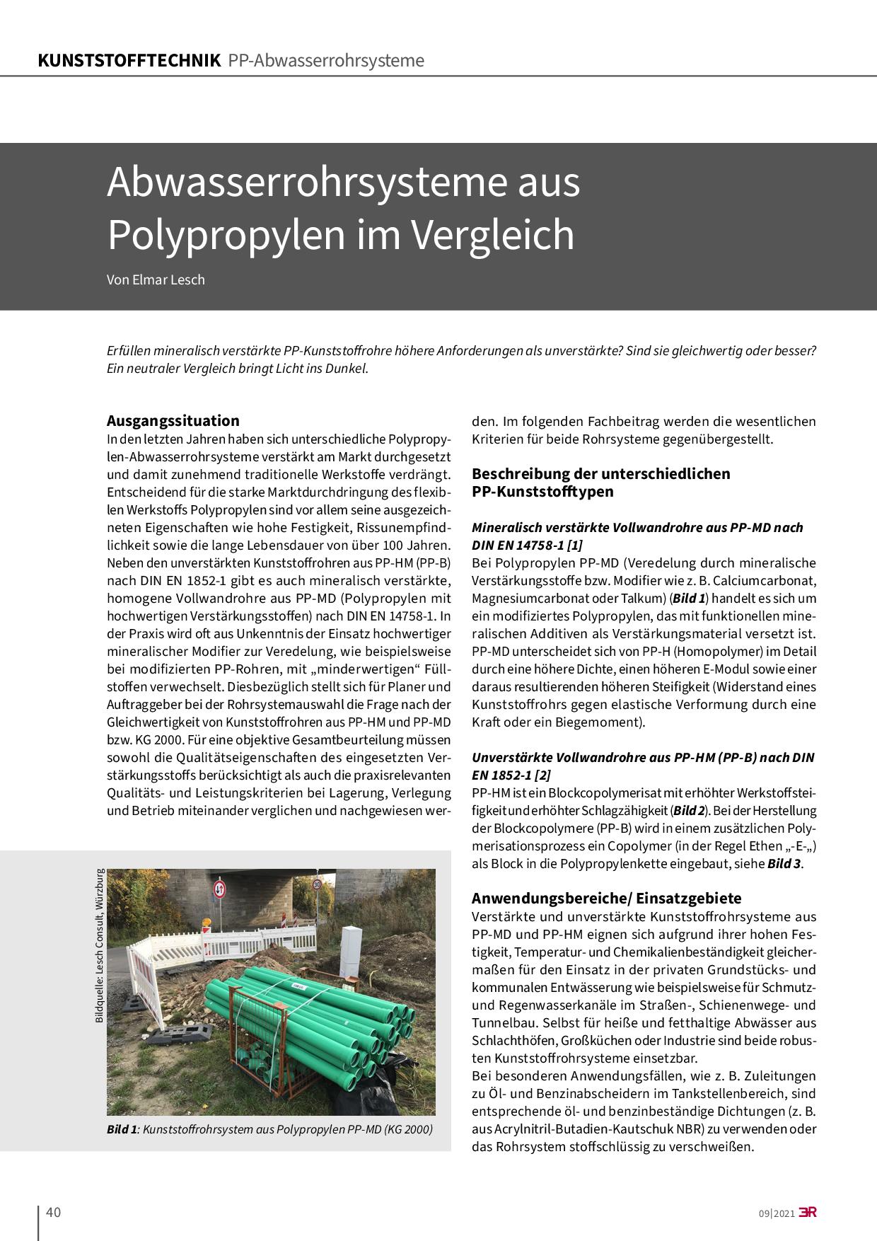 Abwasserrohrsysteme aus Polypropylen im Vergleich