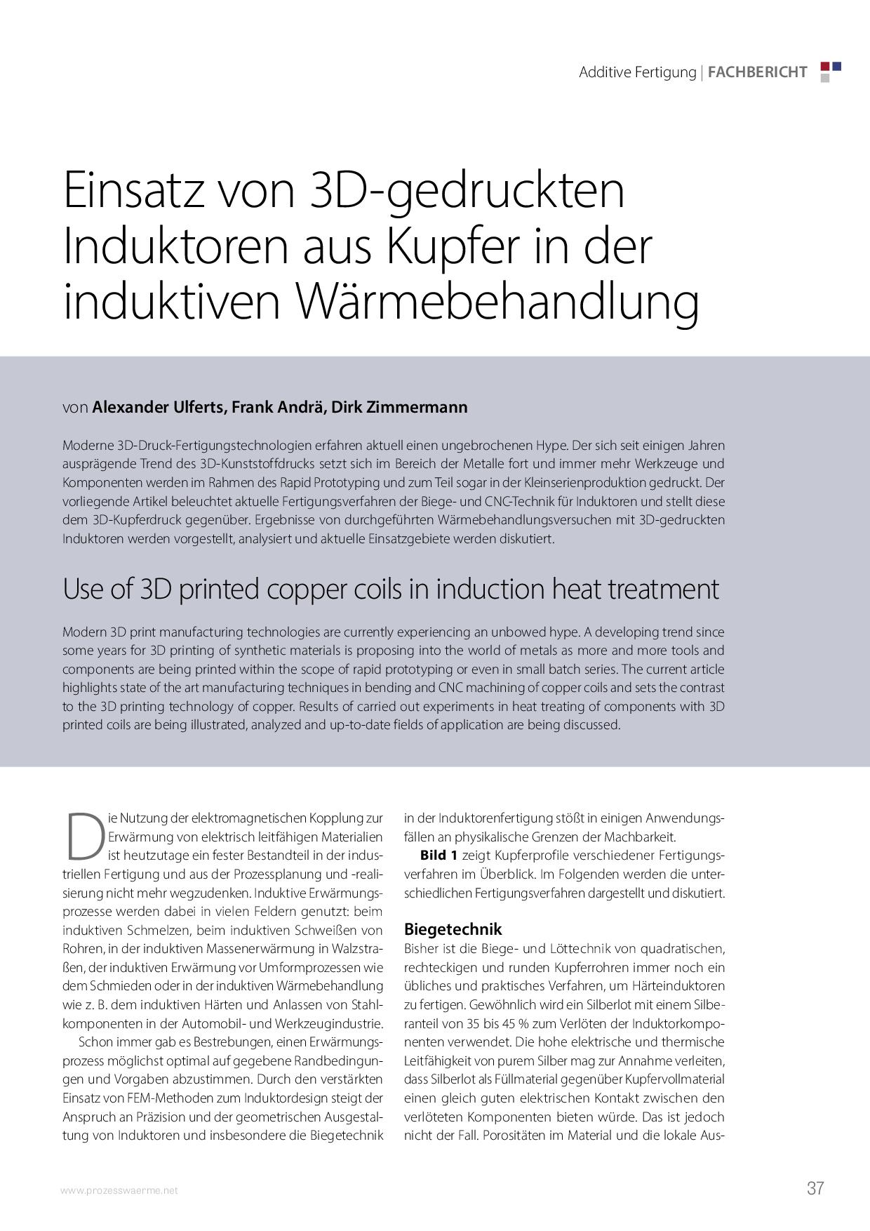 Einsatz von 3D-gedruckten Induktoren aus Kupfer in der induktiven Wärmebehandlung