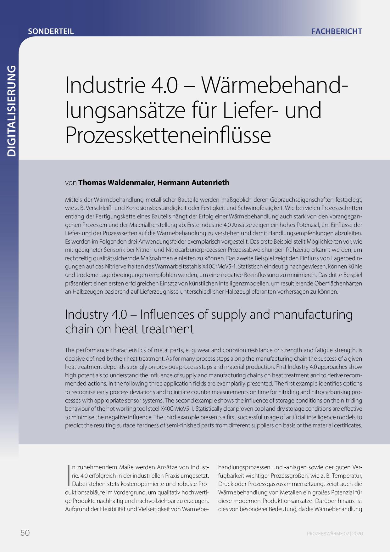 Industrie 4.0 – Wärmebehandlungsansätze für Liefer- und Prozessketteneinflüsse