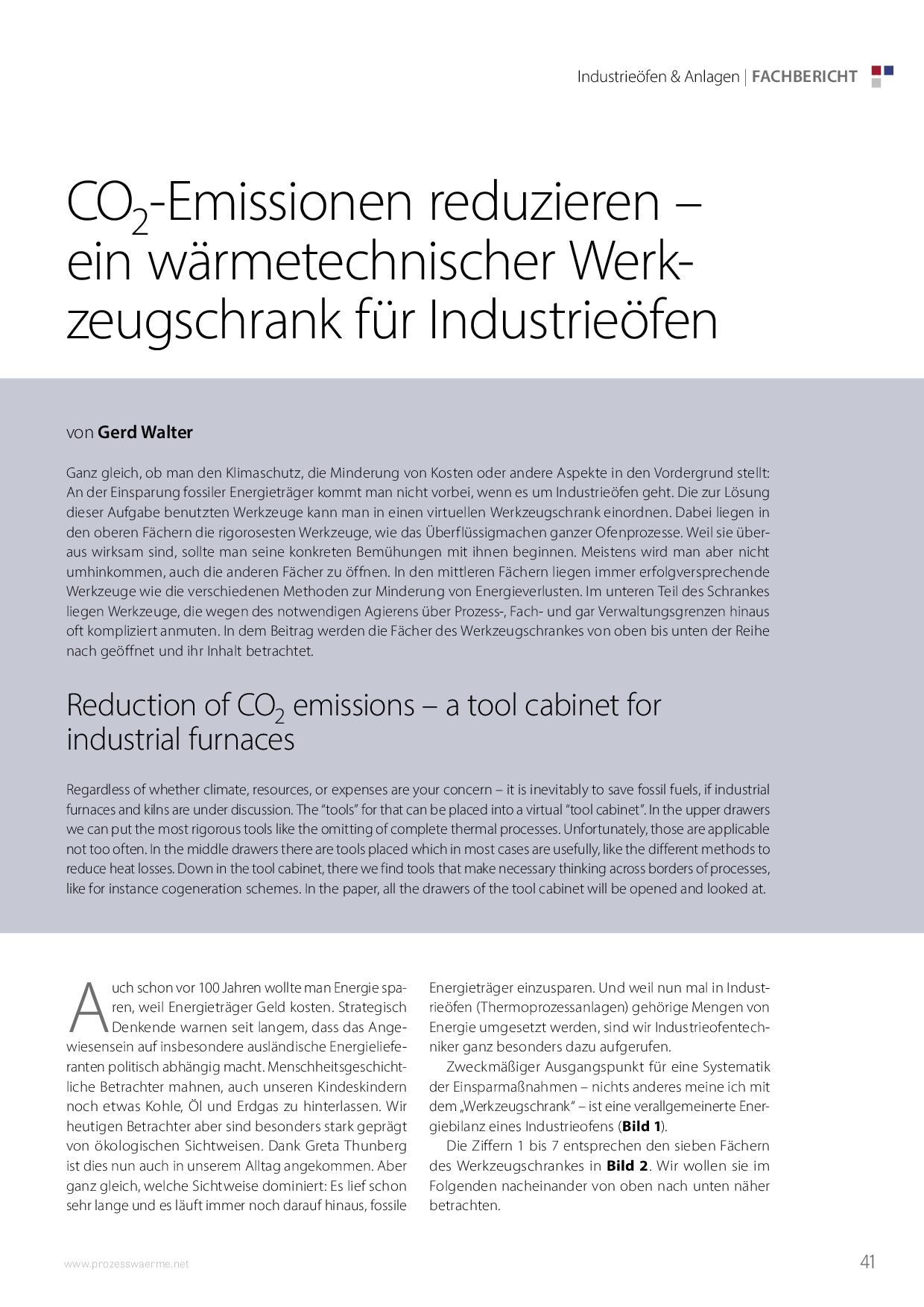 CO2-Emissionen reduzieren – ein wärmetechnischer Werkzeugschrank für Industrieöfen