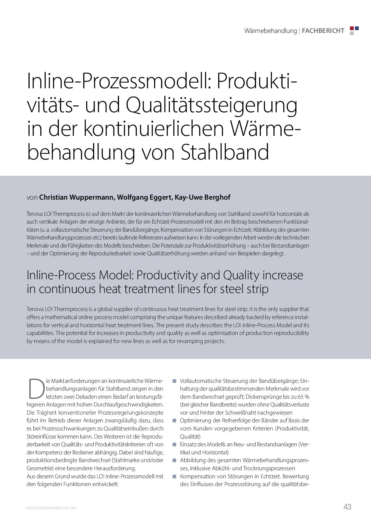 Inline-Prozessmodell: Produktivitäts- und Qualitätssteigerung in der kontinuierlichen Wärmebehandlung von Stahlband