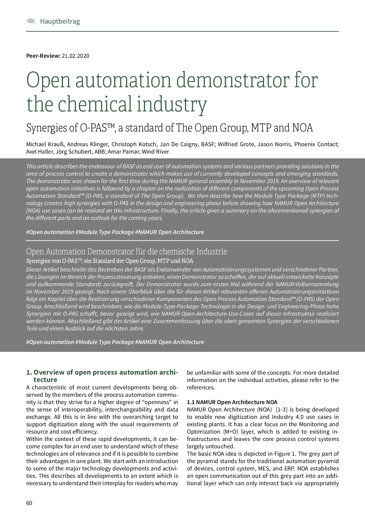 Open automation demonstrator for the chemical industry