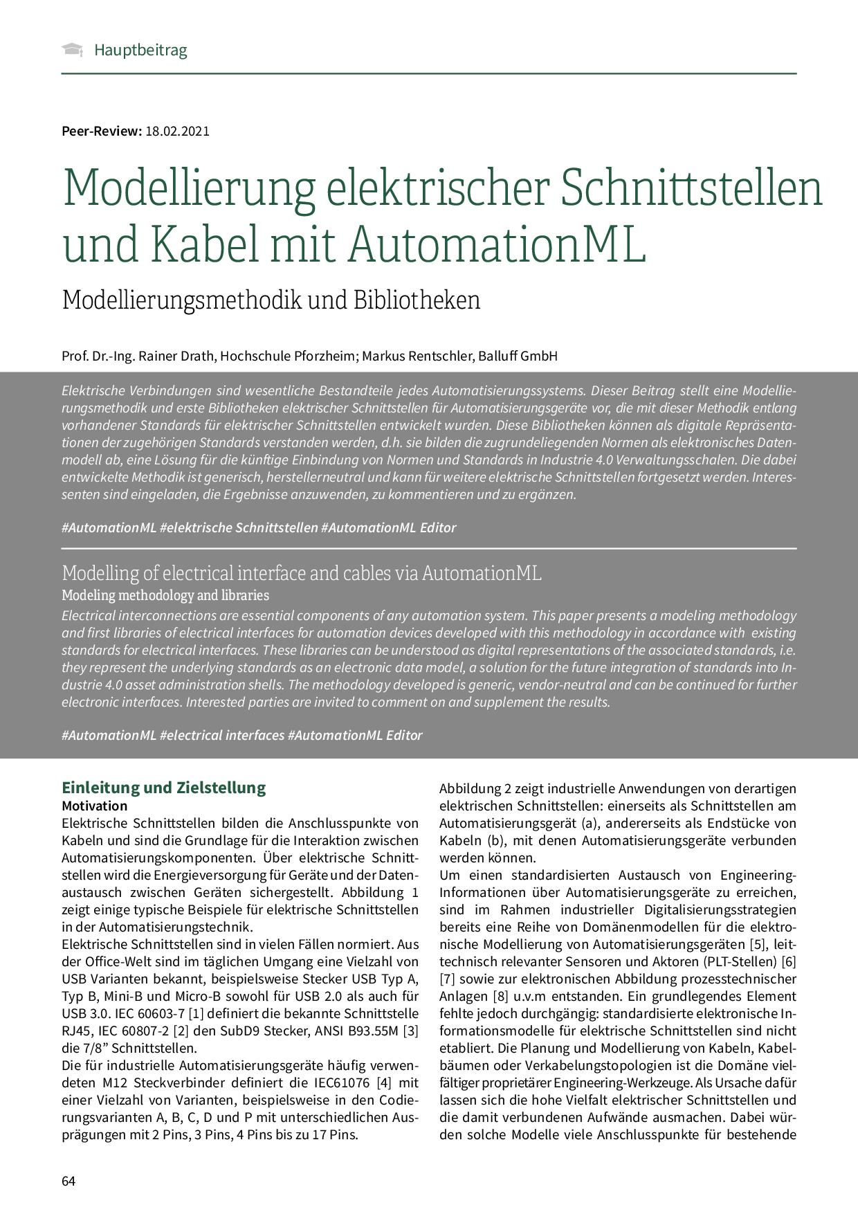 Modellierung elektrischer Schnittstellen und Kabel mit AutomationML